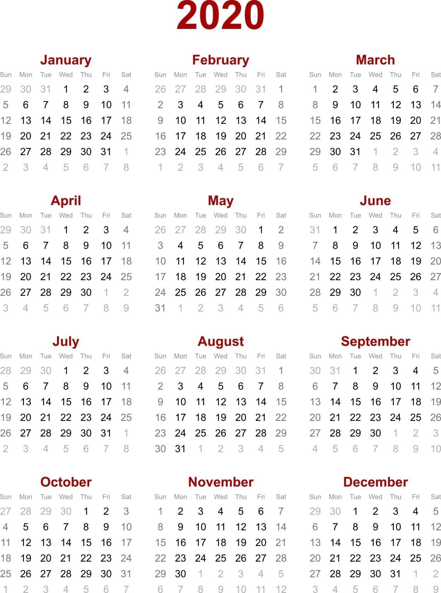 Chinese Calendar 2020 Printable Template | 2020 Calendar Impressive Printable Jewish Holiday Calendar 2020