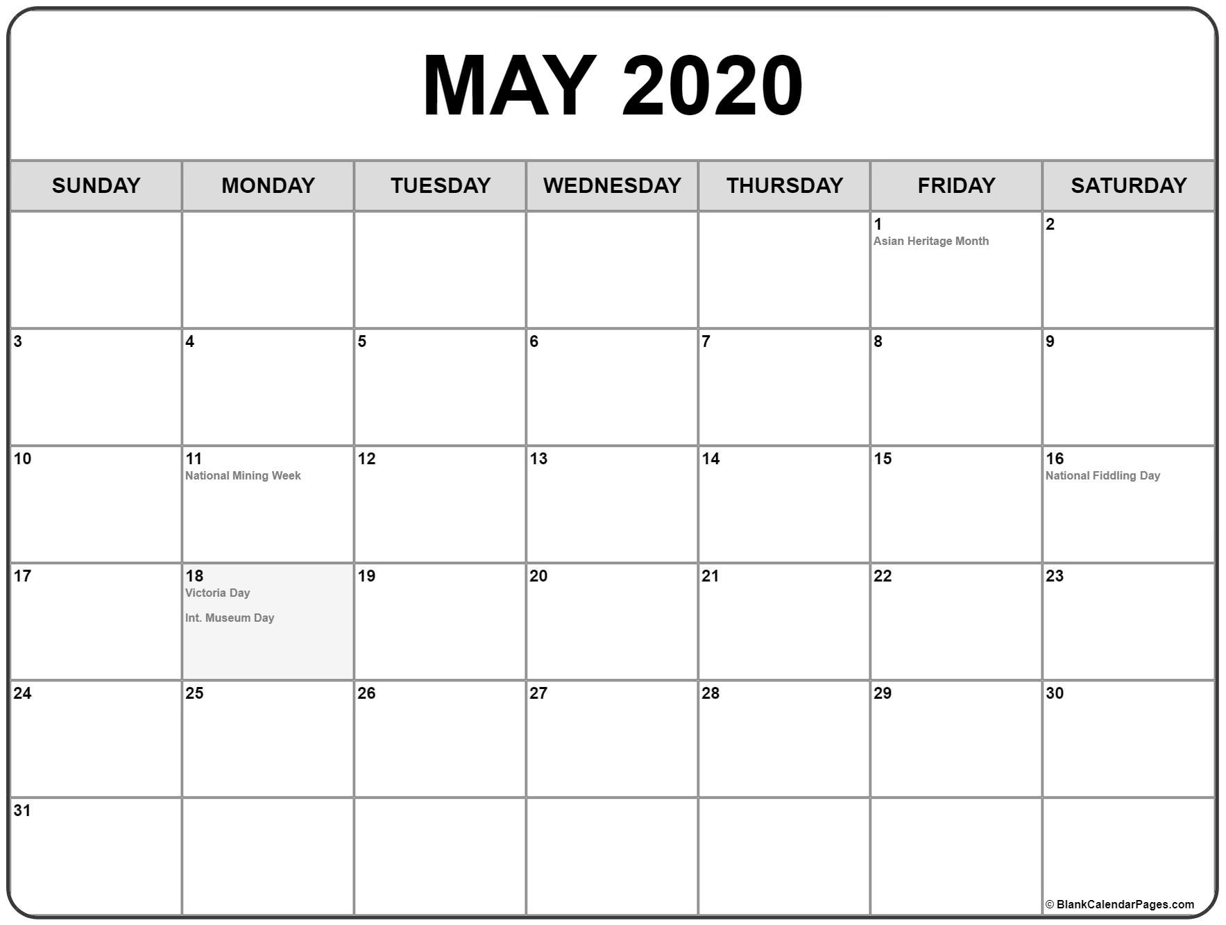 Collection Of May 2020 Calendars With Holidays May 2020 Calendar Canada