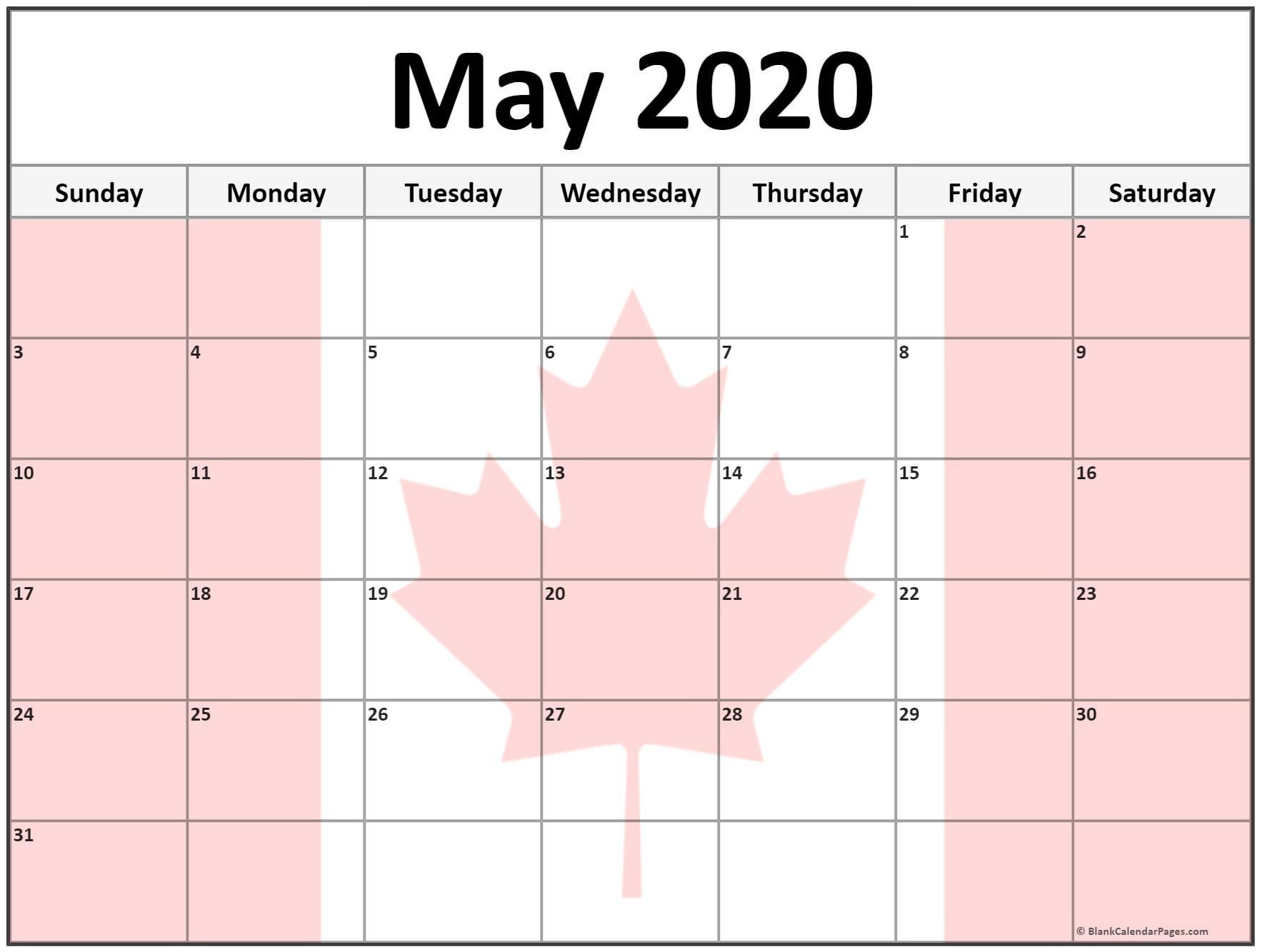 Collection Of May 2020 Photo Calendars With Image Filters. May 2020 Calendar Canada