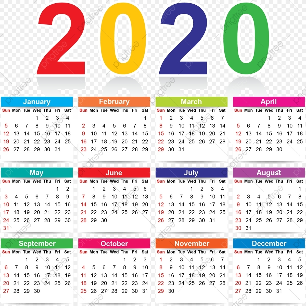 Colorful 2020 Calendar, Colorful, Colorful Calendar 2020 Calendar Free Vector