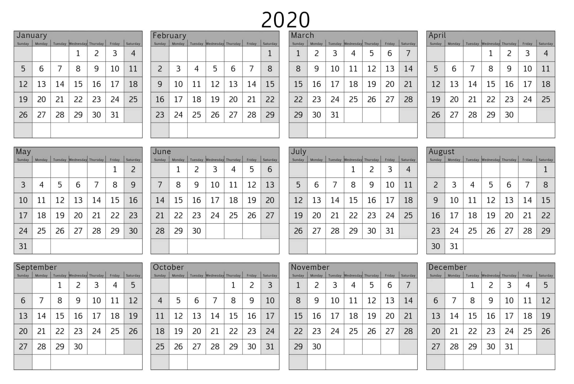 Colorful Yearly Calendar Template With Notes 2020 Word - Set Calendar Template That Can Be Wrote On