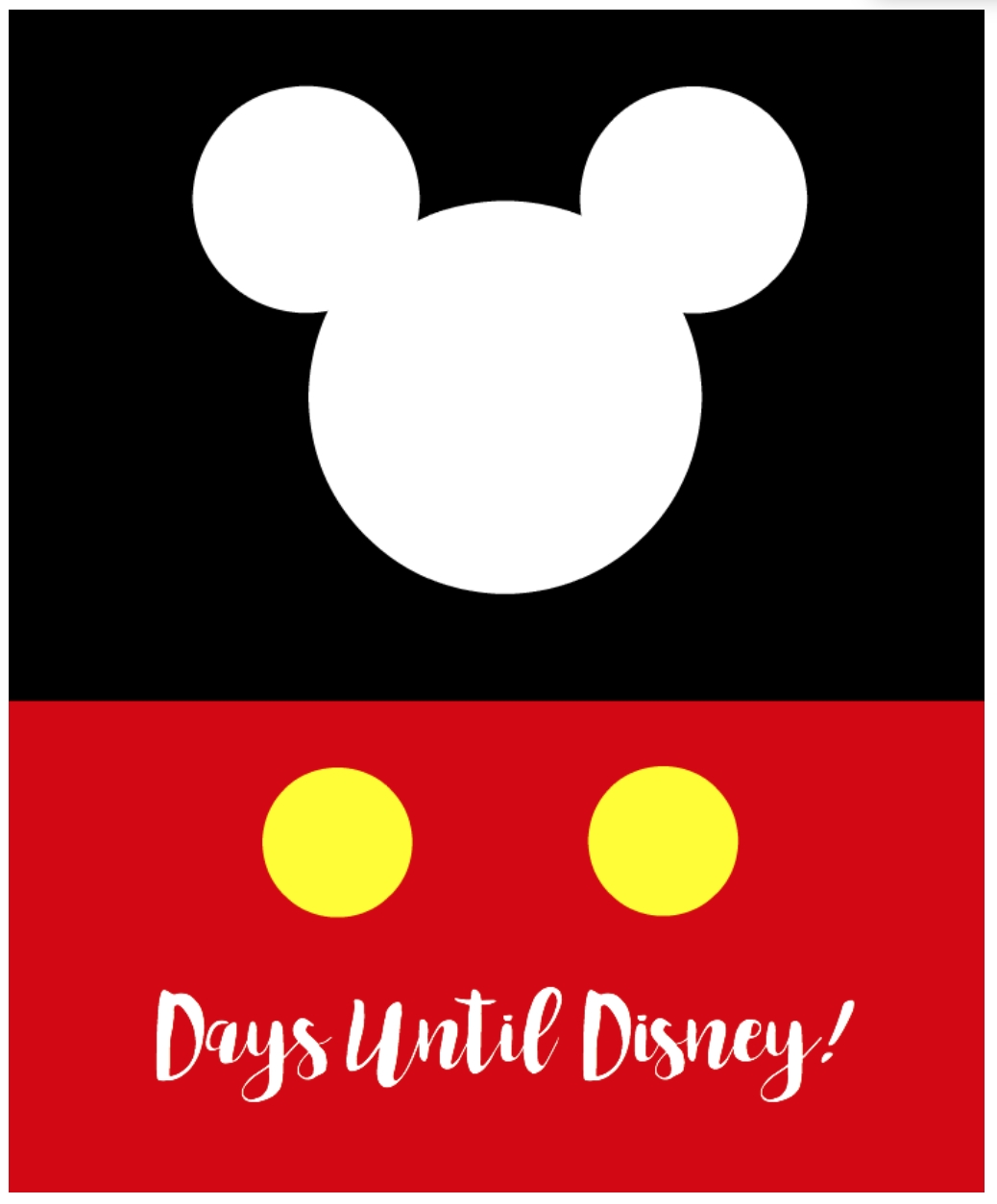 Days Until Disney Printable   Simply Being Mommy Dashing Printable Count Down To Disney