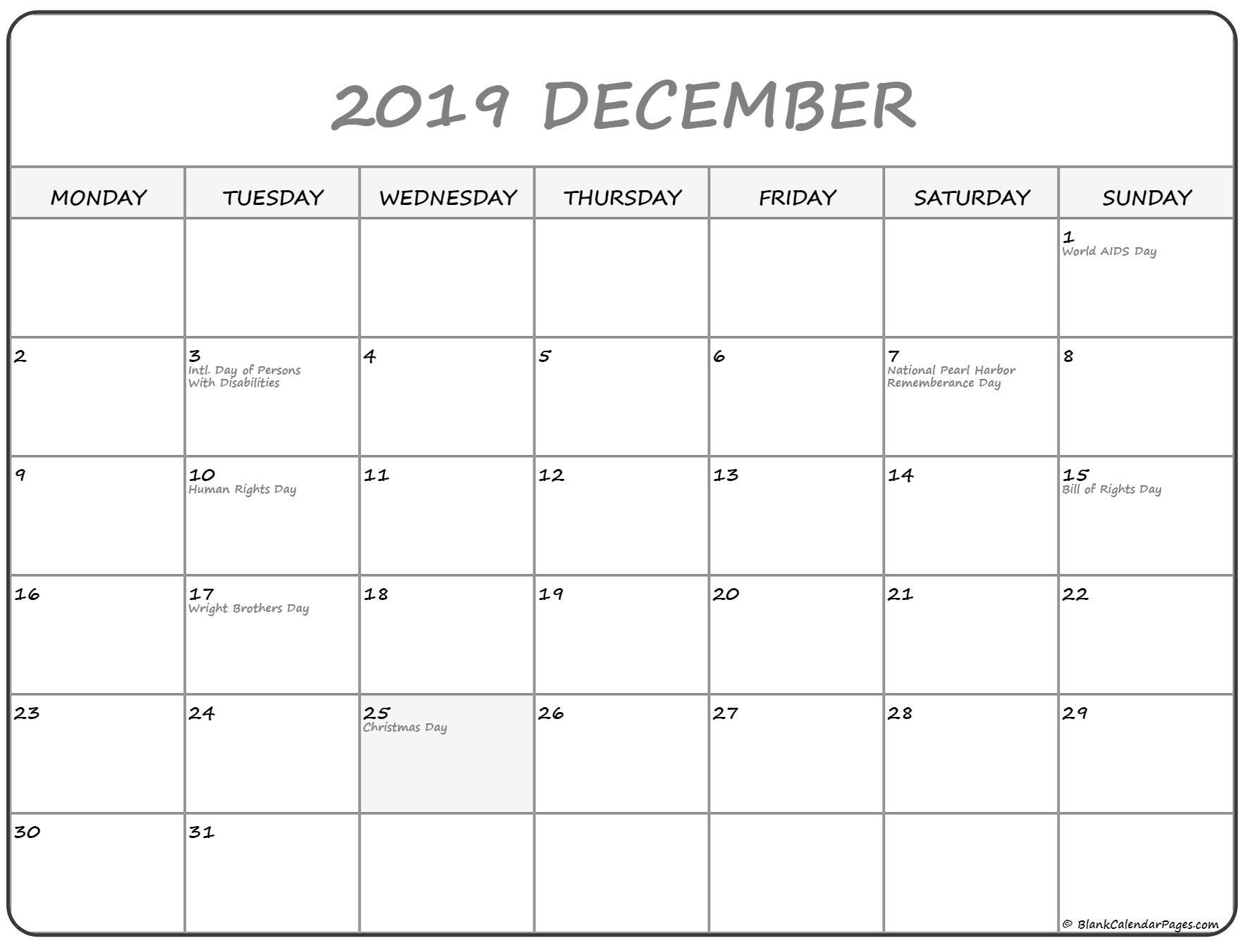 December 2019 Monday Calendar | Monday To Sunday Dashing Blank Calendar Monday To Friday