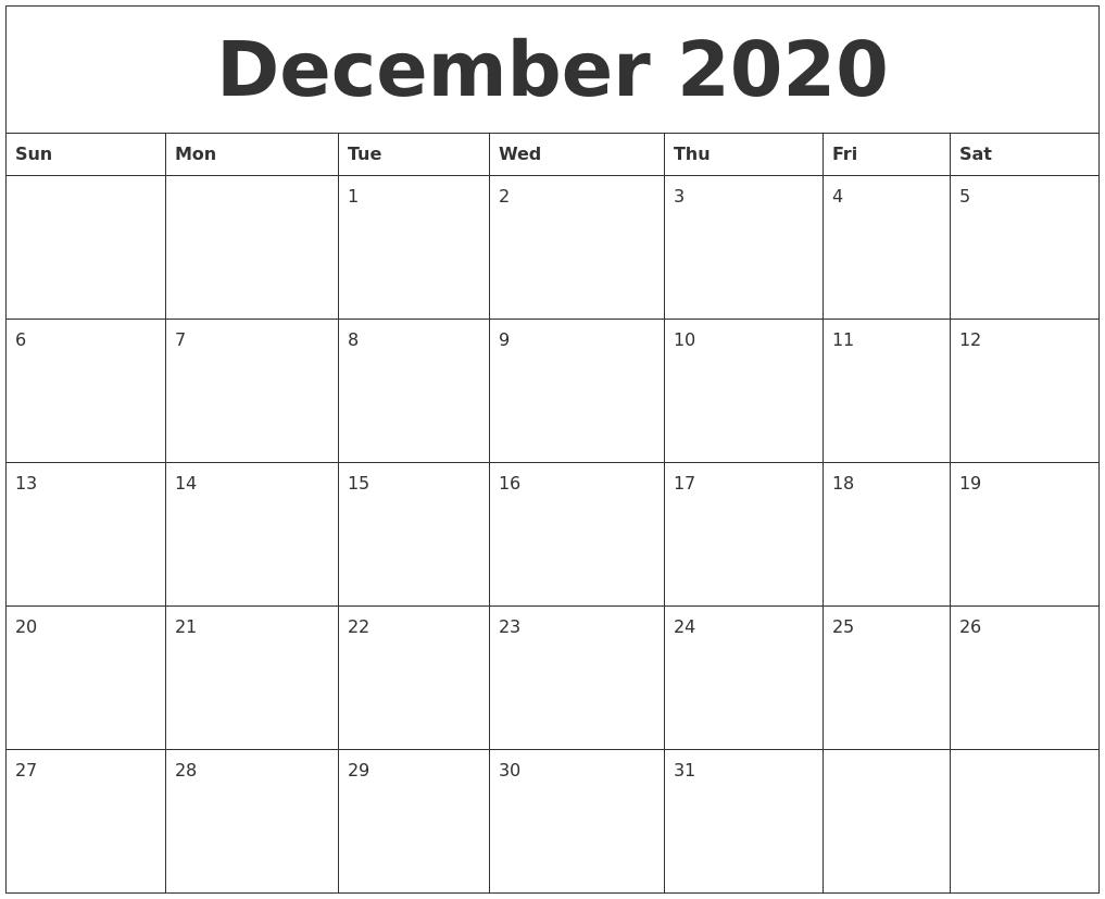 December 2020 Free Printable Monthly Calendar Free Printable Monthly Calendars Monday Start