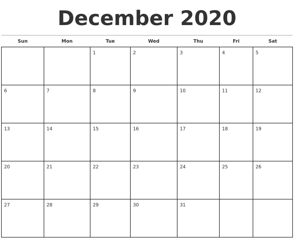 December 2020 Monthly Calendar Template 2020 Monthly Calendar Template Word
