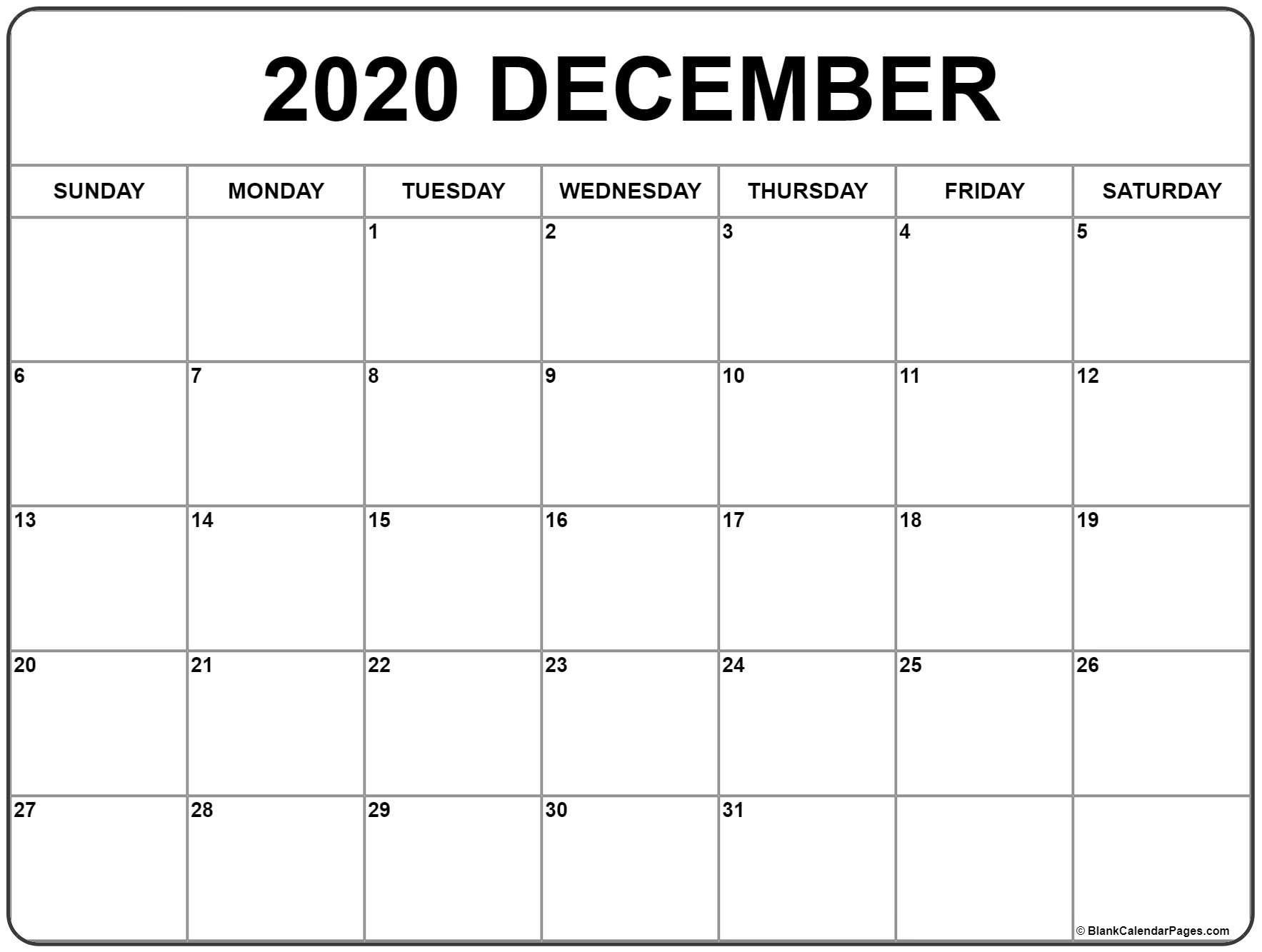 December 2020 Printable Calendar Template #2020Calendars Remarkable 2020 Monthly Calendar Monday Start