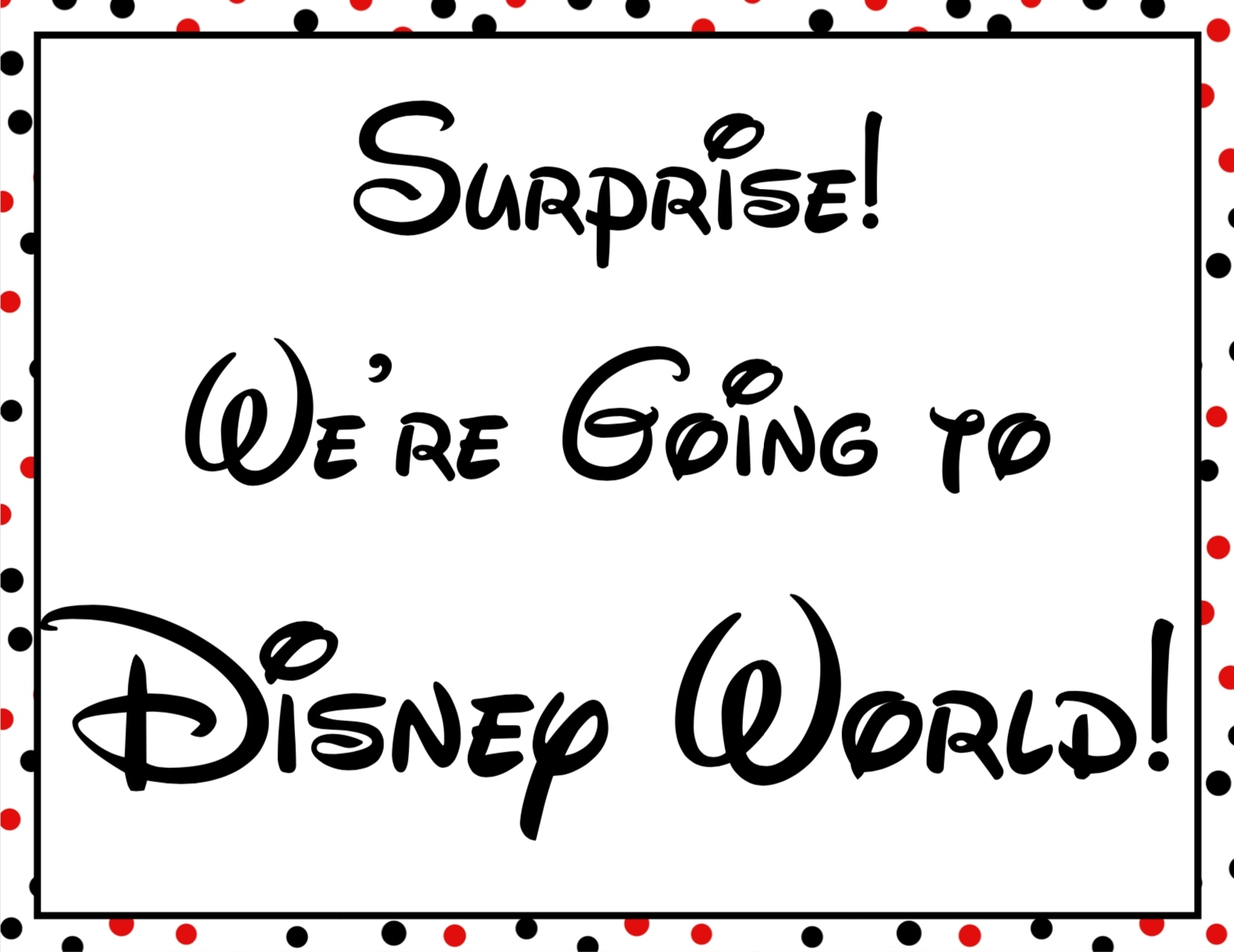 Disney World Surprise Announcement Sign With Countdown And Dashing Countdown To Disney World Trip