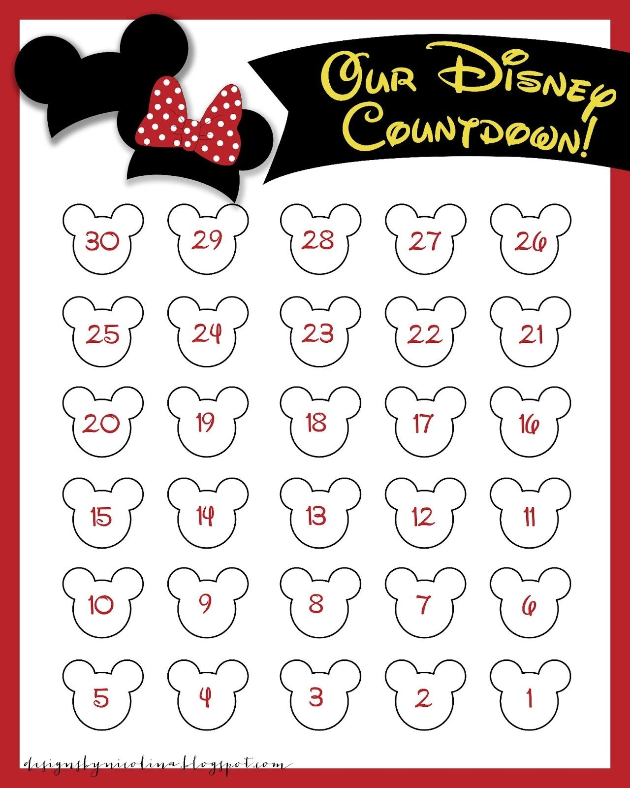 Disneyland Countdown Calendar | Designs By Nicolina: Disney Printable Countdown To Disney Calendar