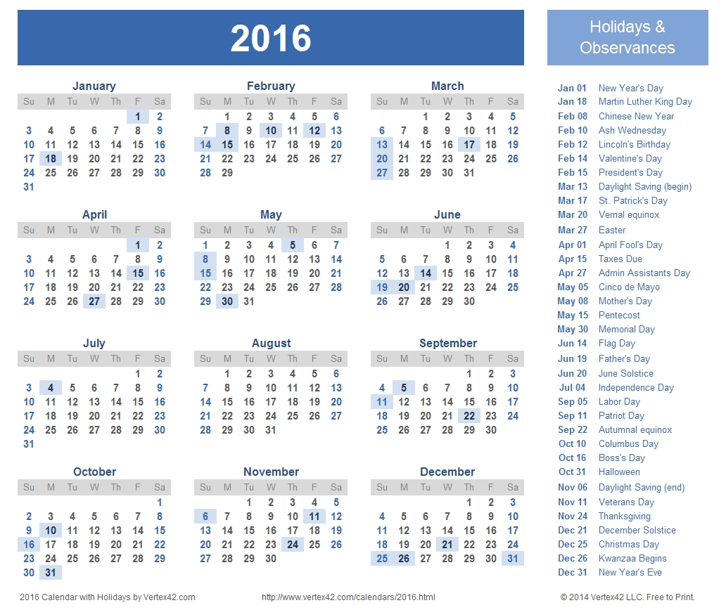 Download A Free Printable 2016 Holiday Calendar From Perky Free Printable Calenders With Legal Holidays