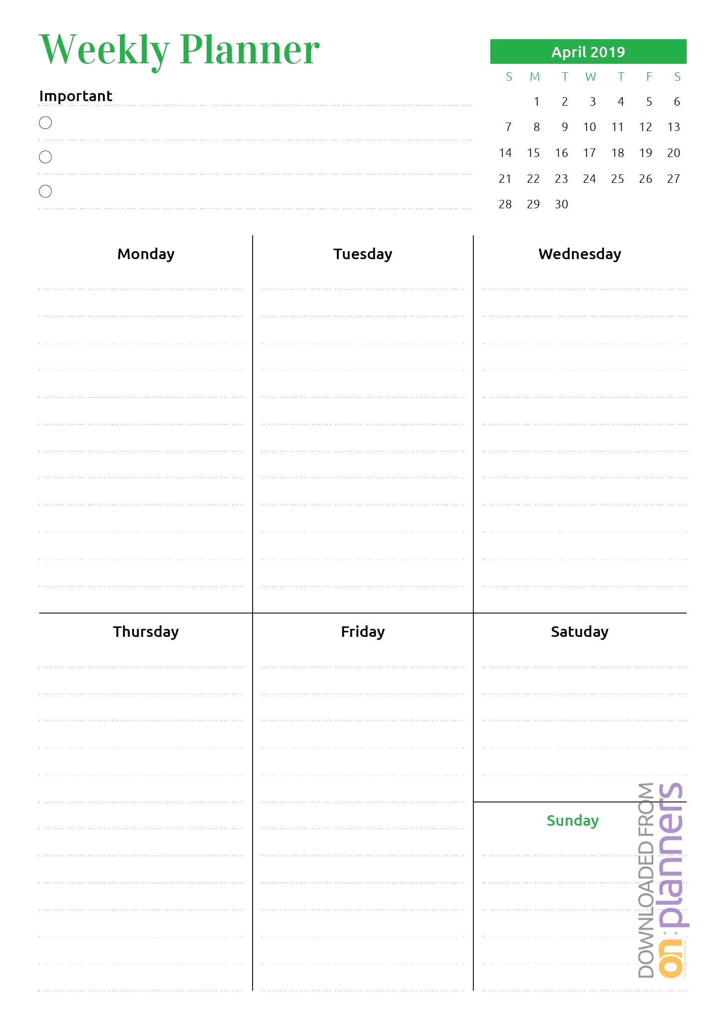 Download Printable Week At A Glance Planner With Calendar Pdf Exceptional Month At A Glance Blank Template