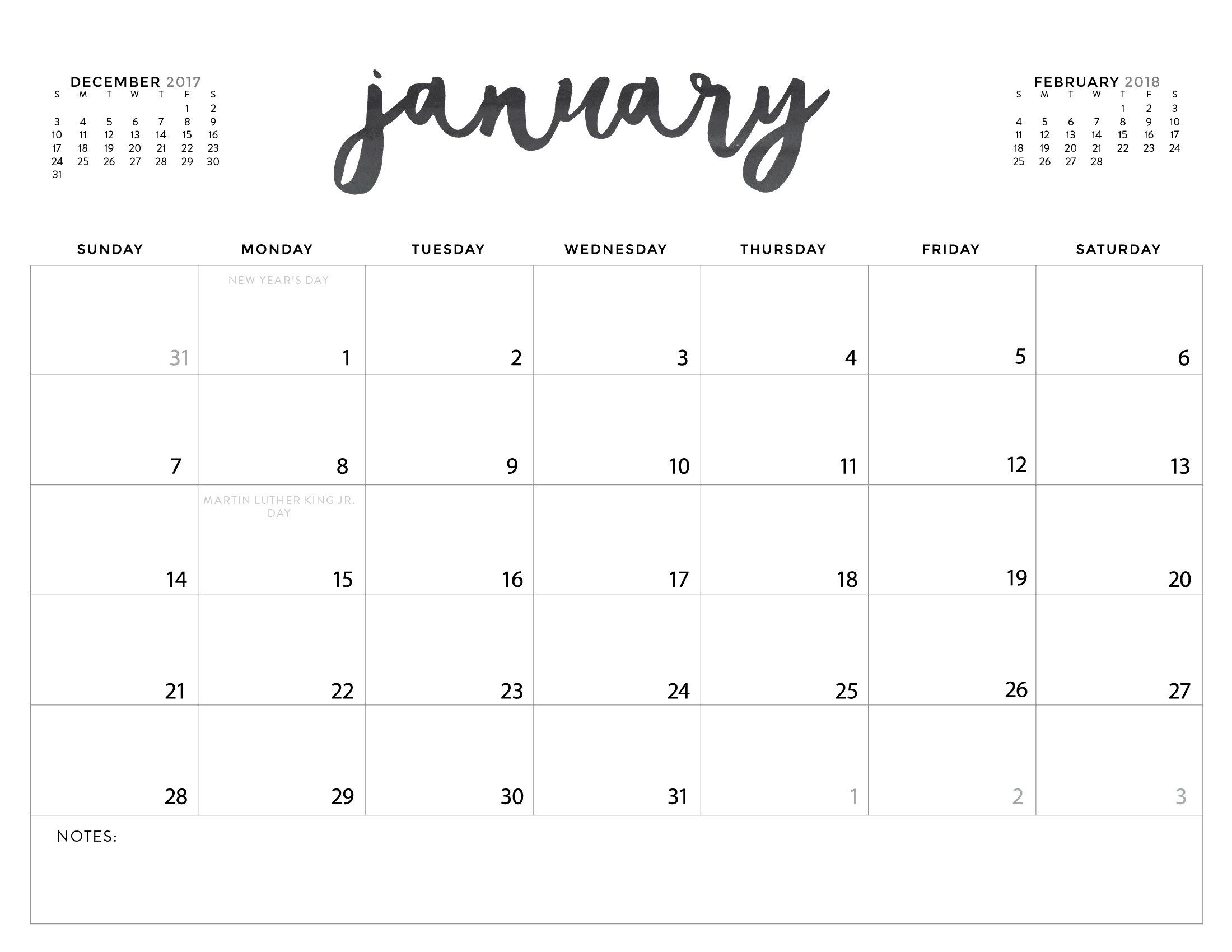 Download Your Free 2018 Printable Calendars Today! 28 Calender To Print With Monday Start Date