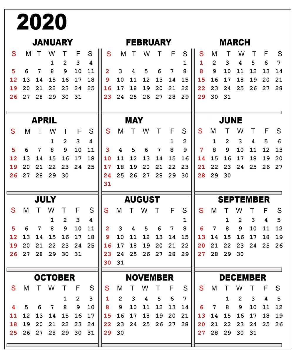 ❤️free 2020 One Page Calendar Printable Templates Exceptional 2020 Calendar One Page