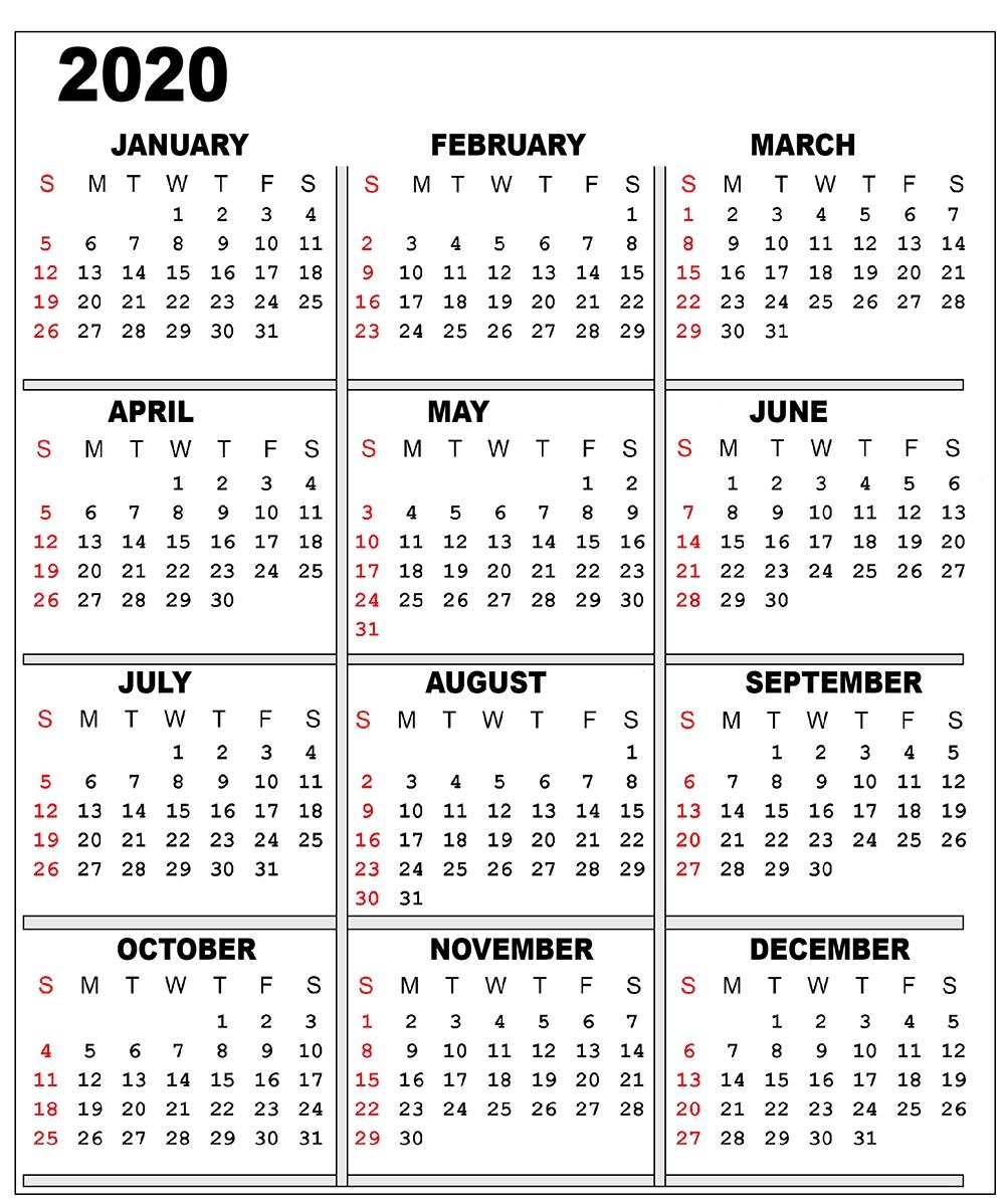 ❤️free 2020 One Page Calendar Printable Templates Perky 2 Page Printable Calendar 2020 Free