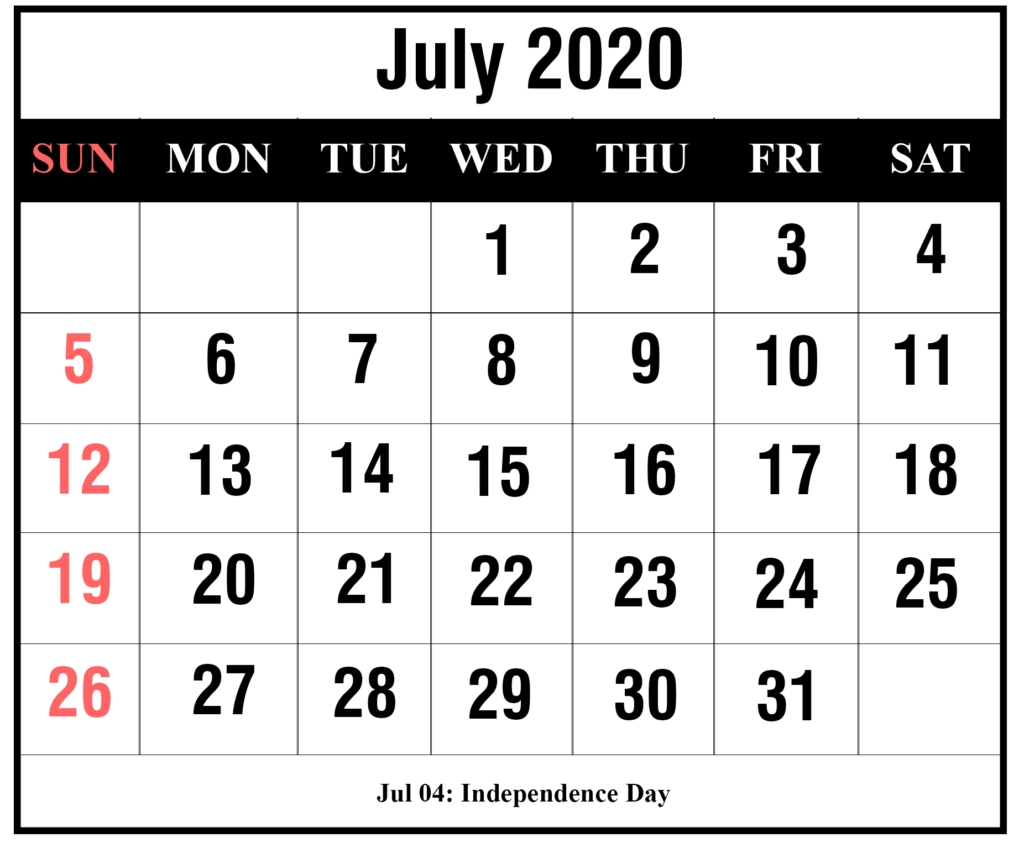 ❤️free July 2020 Printable Calendar Templates [Pdf, Excel Remarkable Printable Calendar With Numbered Days 2020