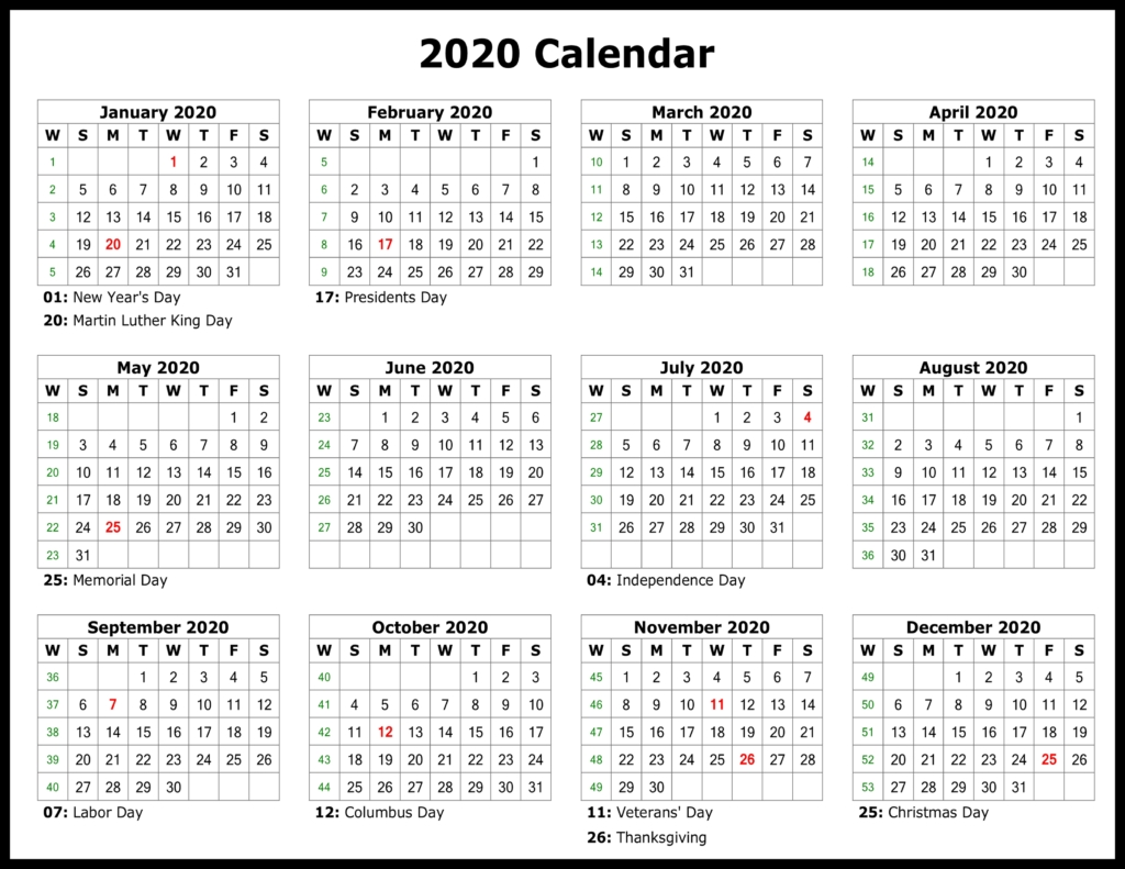 ❤️free Yearly 2020 Printable Calendar Templates [Pdf, Word Dashing Printable Calendar With Date Boxes