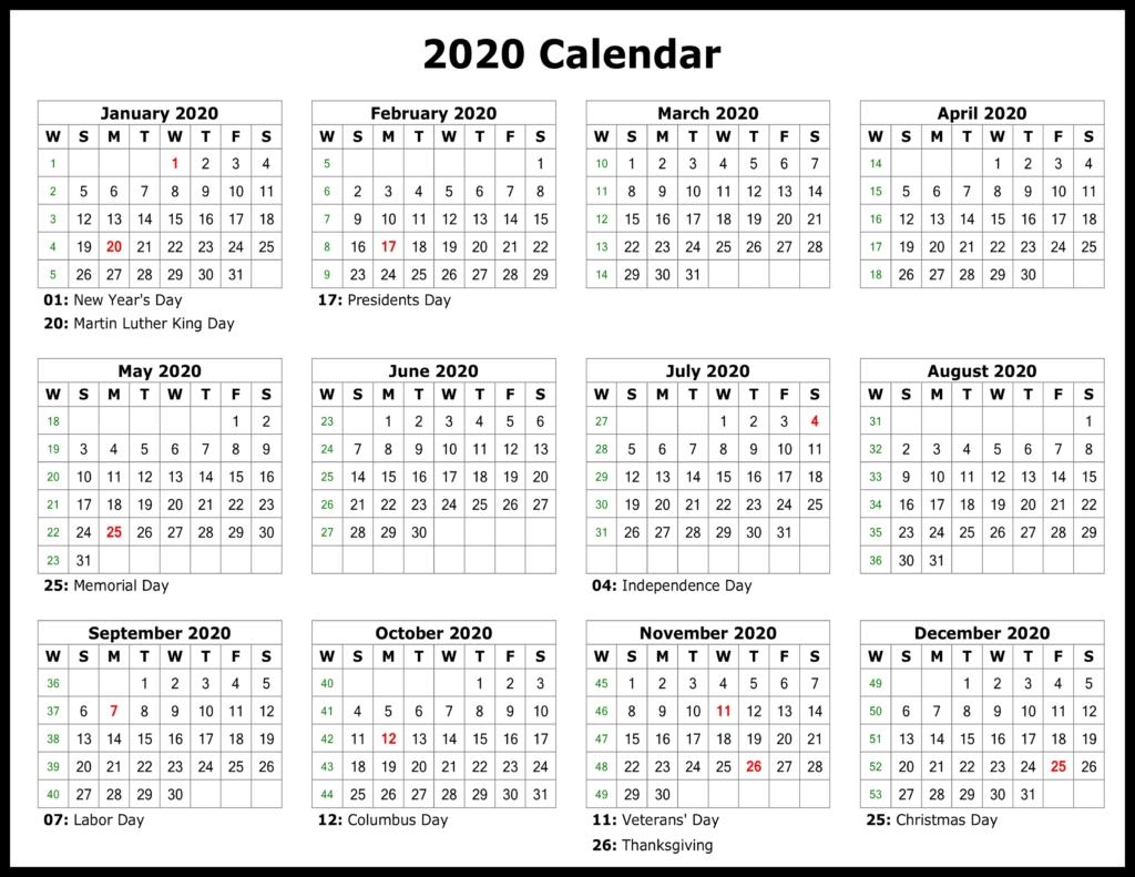❤️free Yearly 2020 Printable Calendar Templates [Pdf, Word Extraordinary 2020 Yearly Calendar Printable