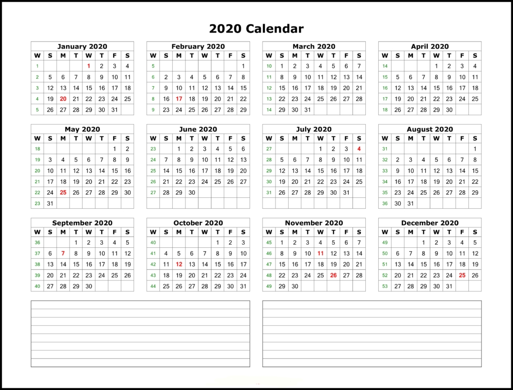 ❤️free Yearly 2020 Printable Calendar Templates [Pdf, Word Printable Calendar With Date Boxes
