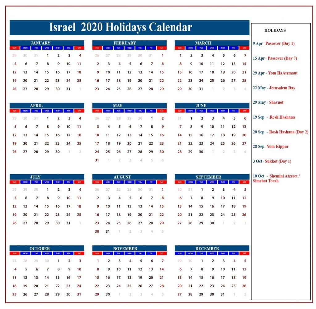 ❤️israel Holidays Calendar 2020 | Israel Jewish Holidays Impressive Printable Jewish Holiday Calendar 2020
