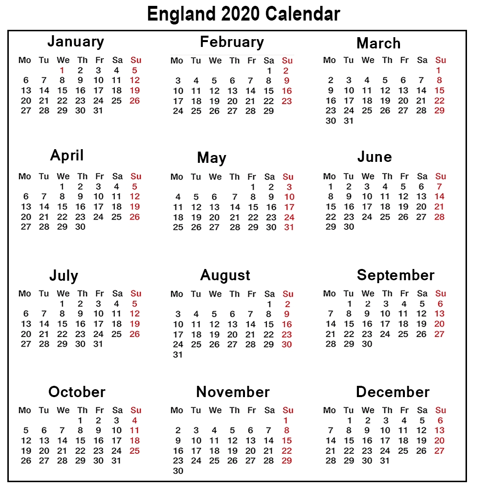❤️printable Calendar 2020 Templates With England Public Extraordinary 2020 Calendar With Bank Holidays Uk