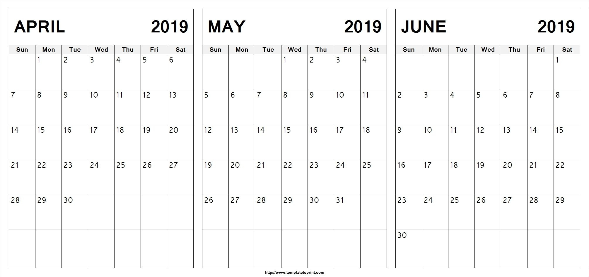 Editable April May June 2019 Calendar #april #may #june 3 Months Per Page Calendar With Small Numbers