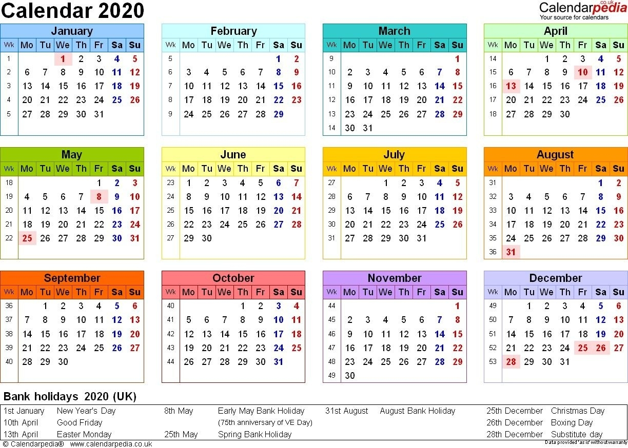 Excel Calendar 2020 Uk 16 Printable Templates Xlsx Free Extraordinary 2020 Calendar With Bank Holidays Uk