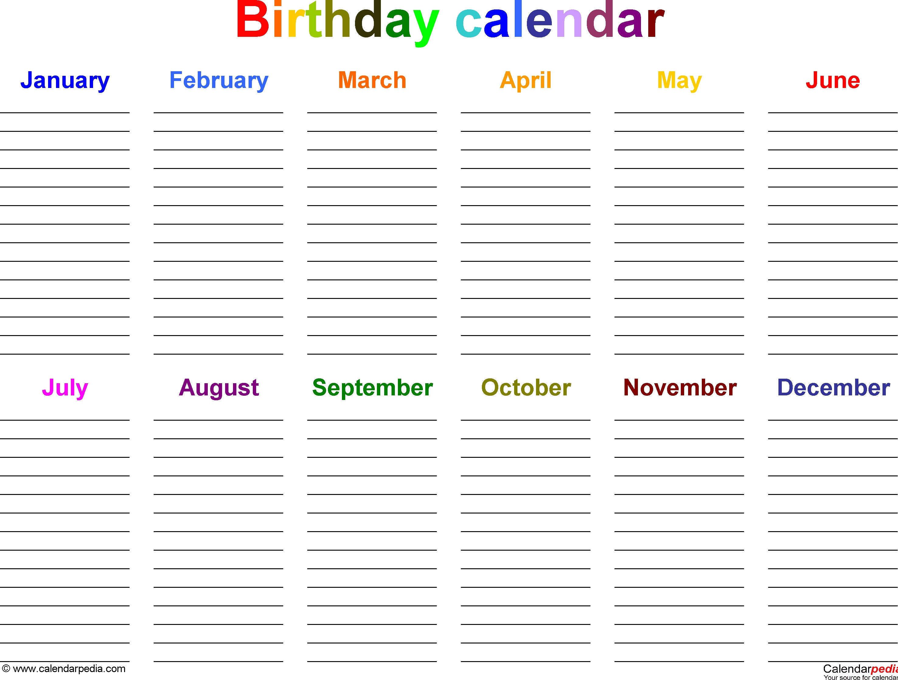 Excel Template For Birthday Calendar In Color (Landscape Exceptional Free Countdown Birthday Calendar Printable