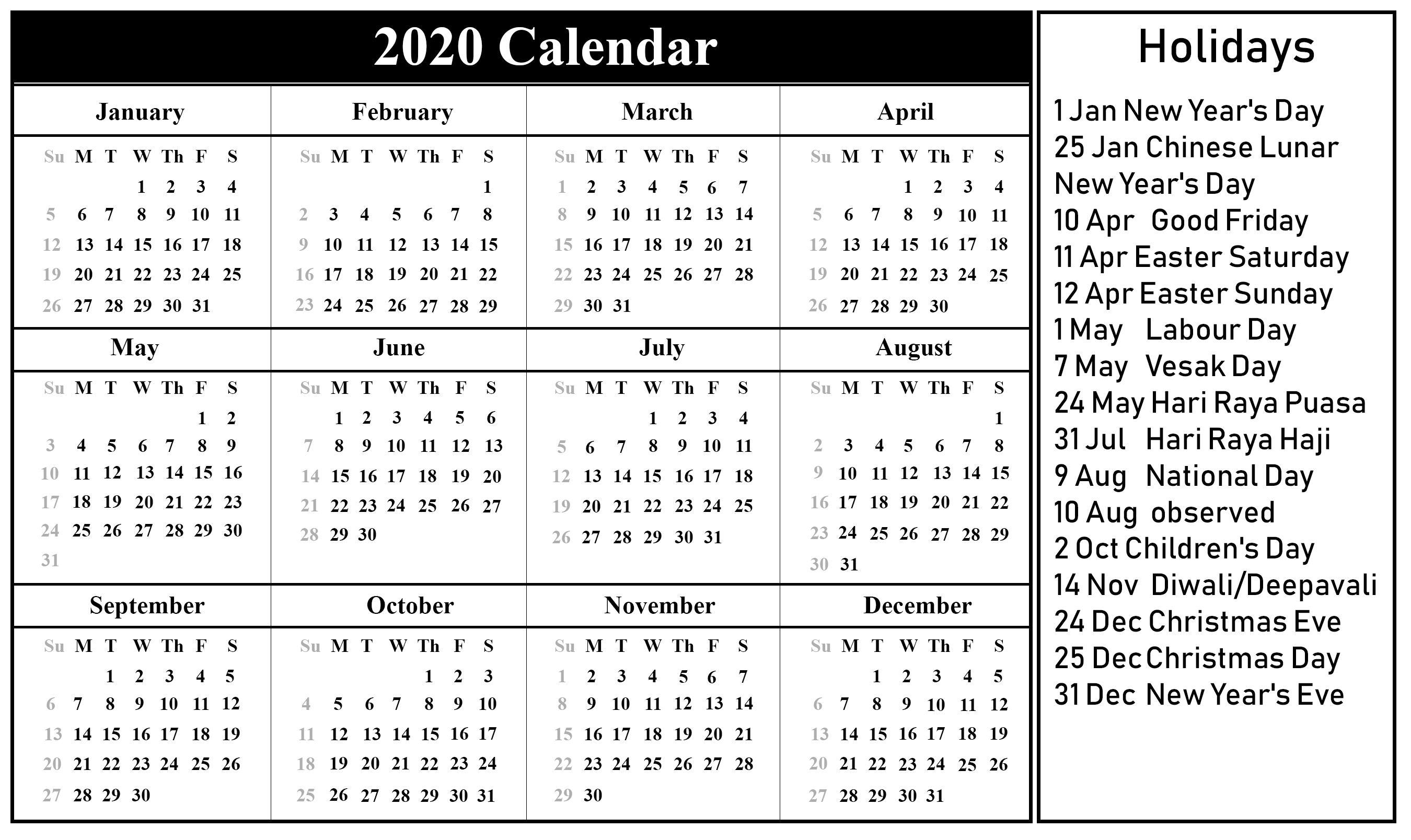 😄free Printable Singapore 2020 Calendar With Holidays In Impressive Year 2020 Calendar Singapore