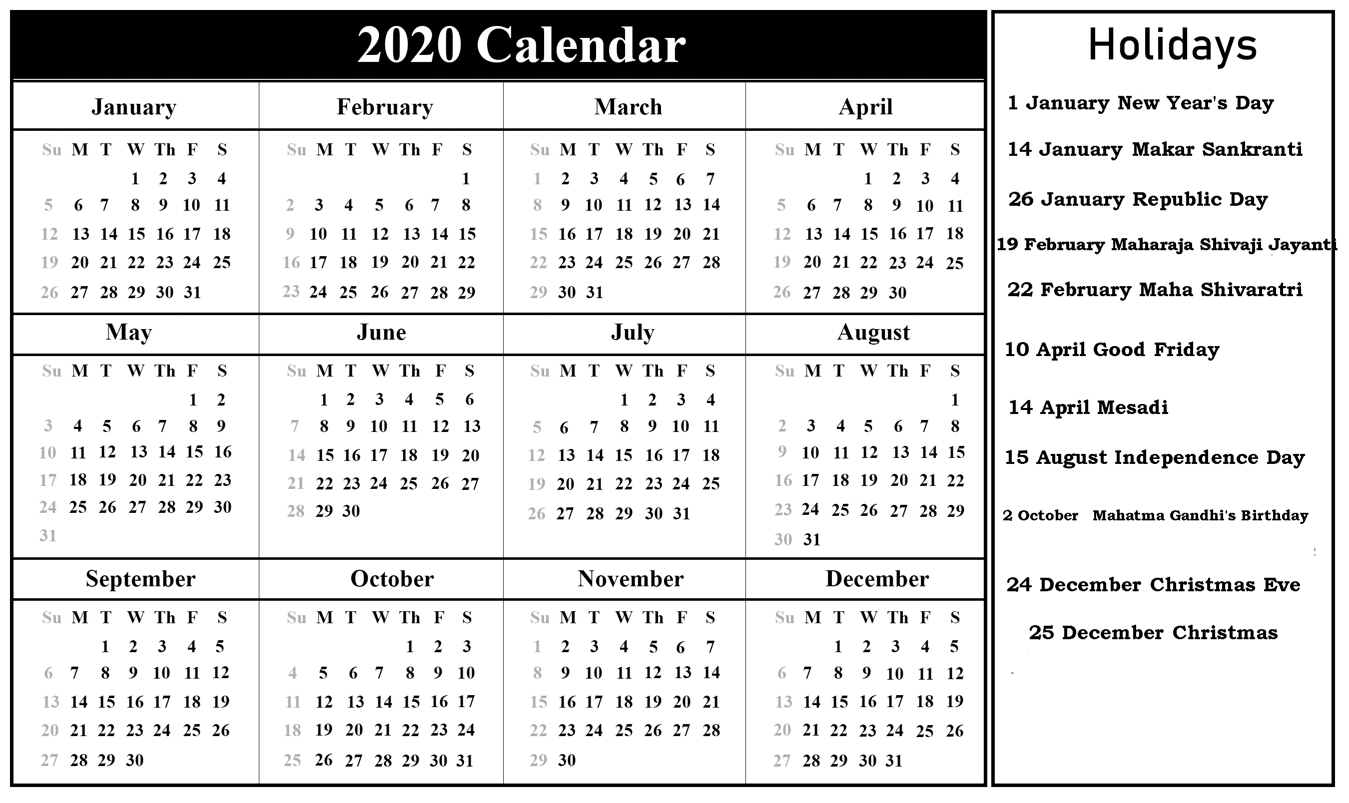 😄printable Indian 2020 Calendar Template Pdf, Excel, Word Remarkable 2020 Calendar India Pdf