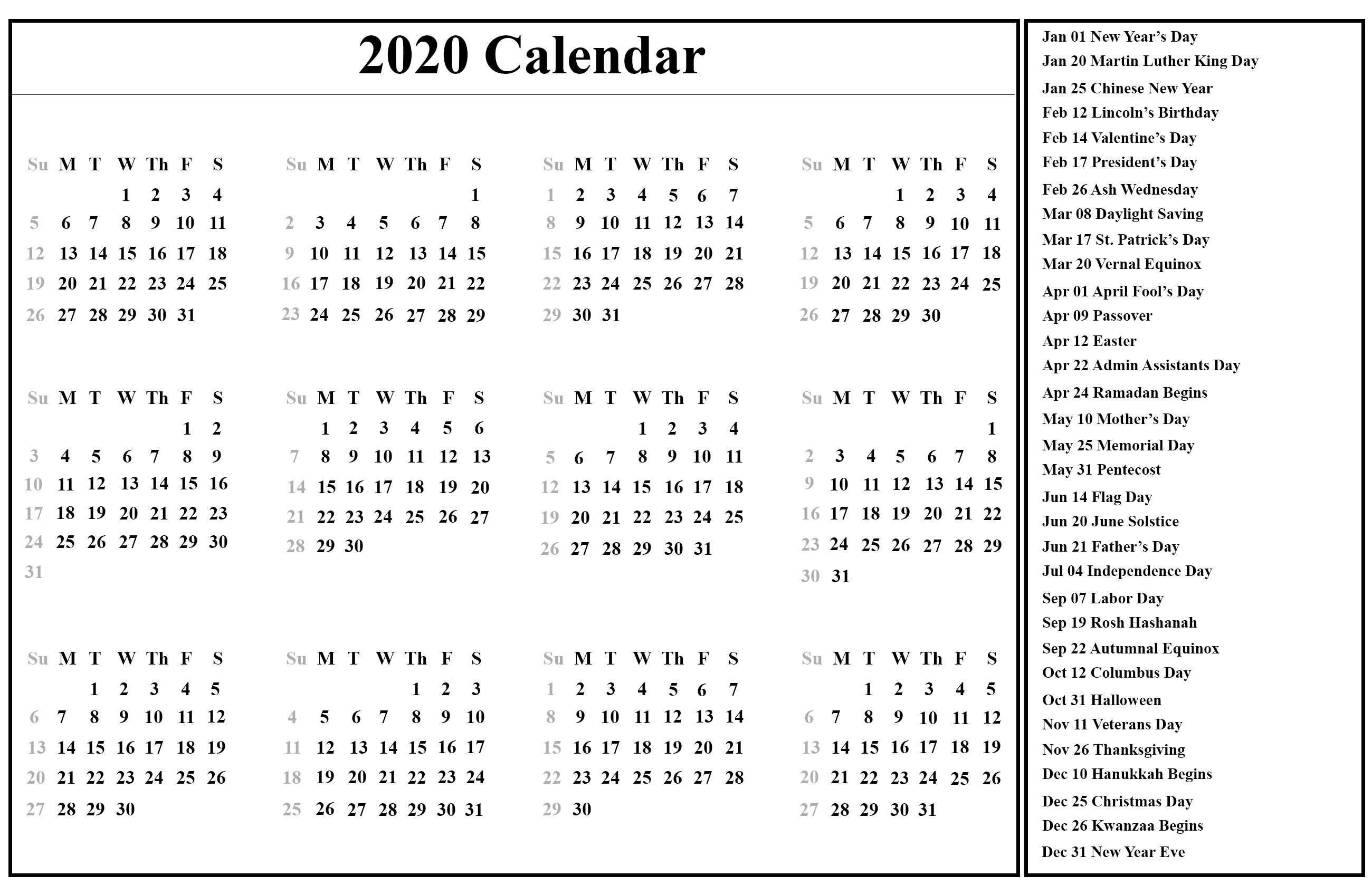 😄printable Yearly Calendar 2020 Template With Holidays [Pdf Remarkable 2020 Calendar India Pdf