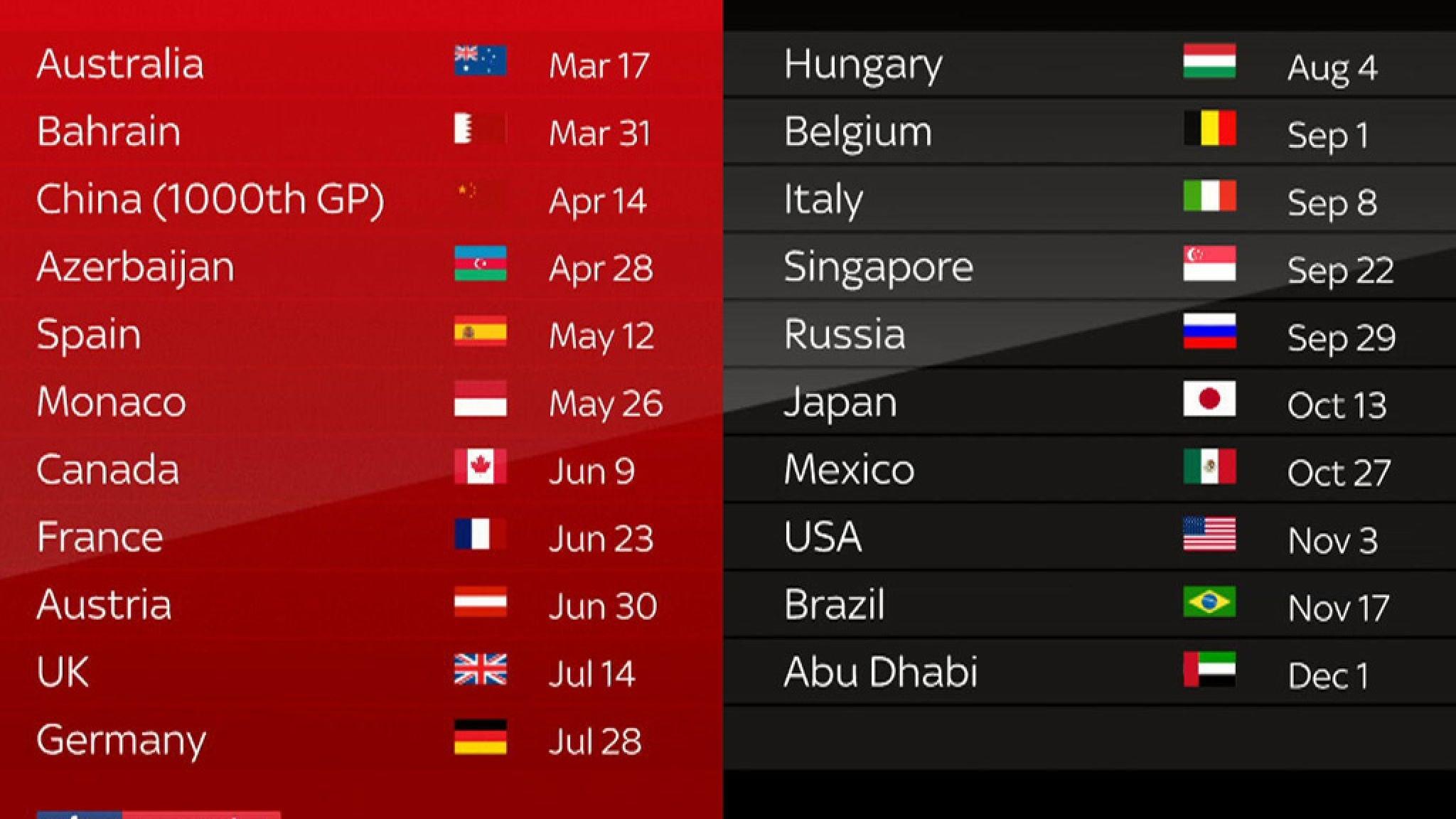 F1 2019 Schedule: 21-Race Calendar And December Finish | F1 News Printable 2020 Formula 1 Schedule