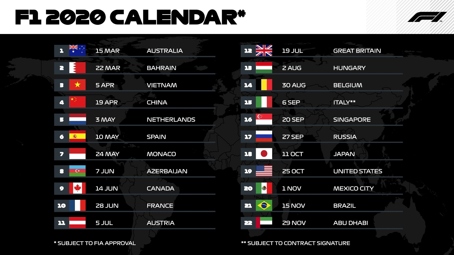 F1 Calendar 2020 - Enjoy A Record-Breaking 22 Races In The Printable 2020 Formula 1 Schedule