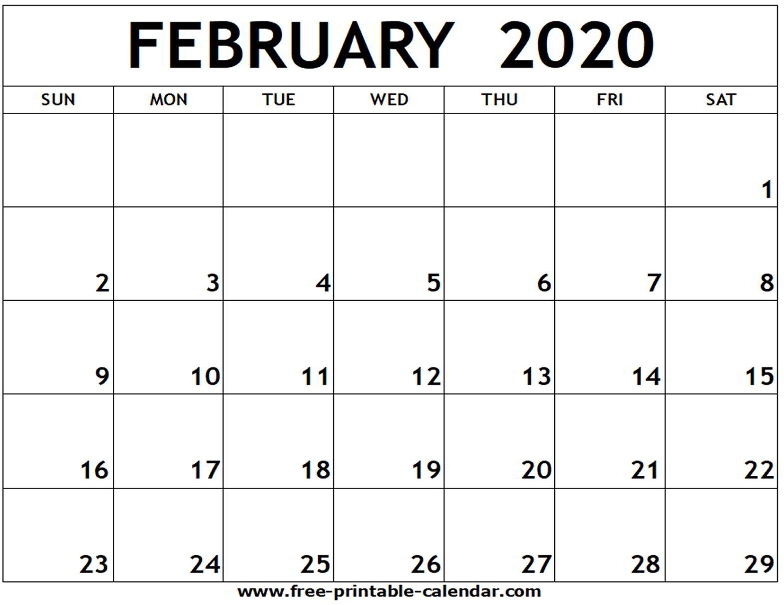 Feb Calendar 2020 - Firuse.rsd7 Incredible 2020 Printable Calendars Including Holidays And Jewish Holidays