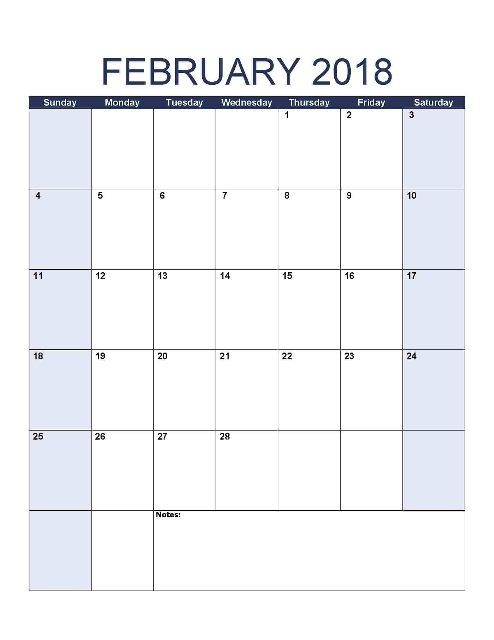 February 2018 Calendar - Free, Printable Calendar Templates 8.5 By 14 Printable Calendars