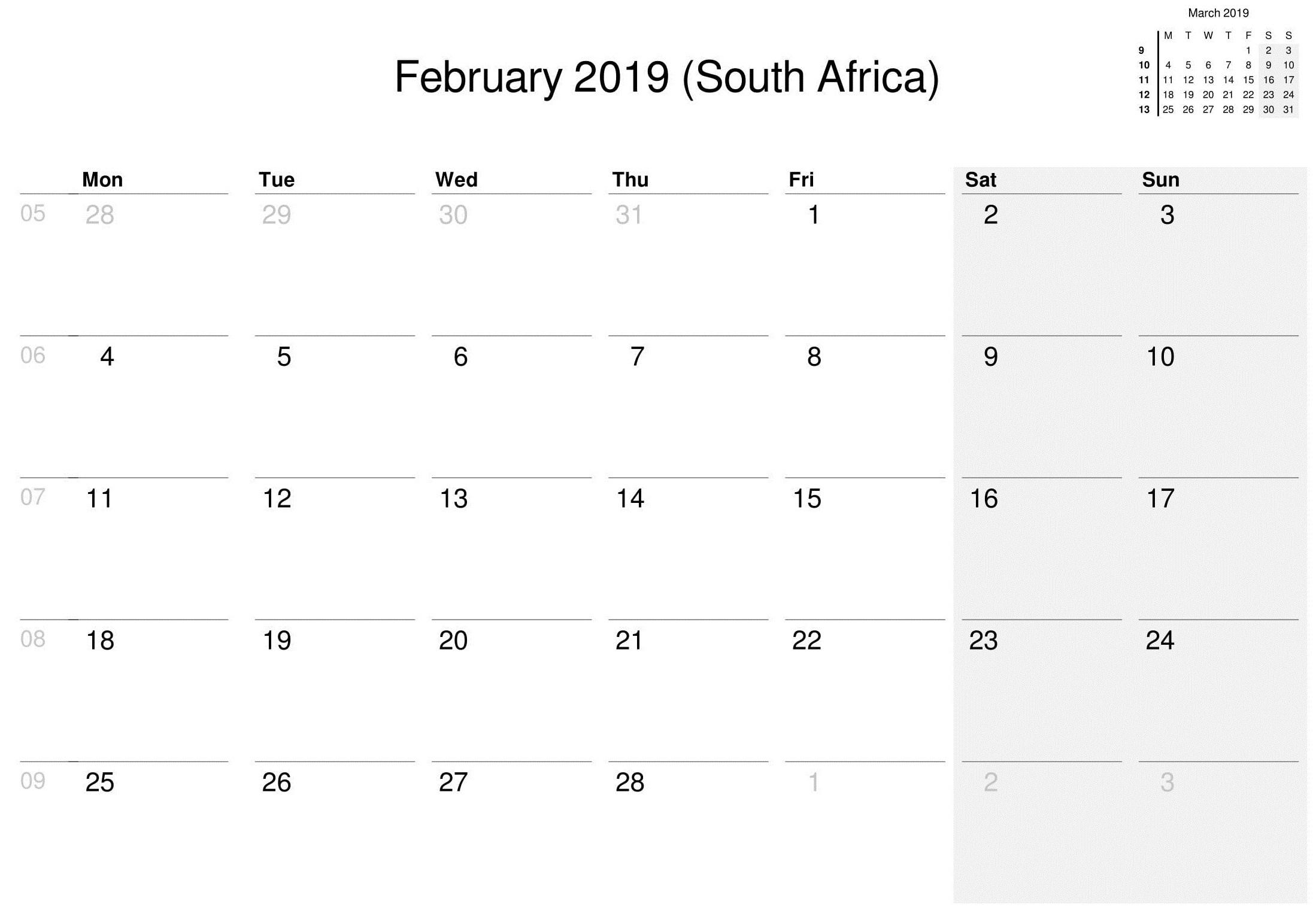 February 2019 Calendar South Africa - Colona.rsd7 Printable Desk Calender South Africa
