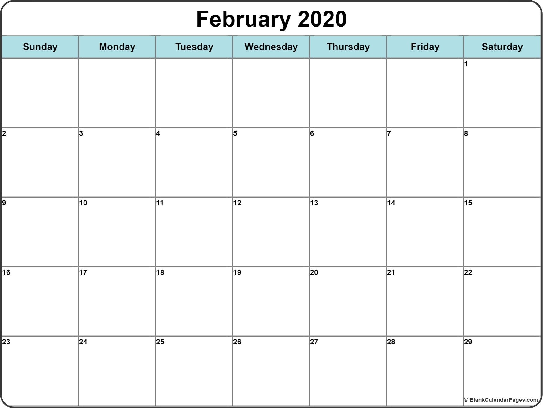 February 2020 Calendar | Free Printable Monthly Calendars Free Very Large Squares Blank Printable Calendar 2020 Monthly