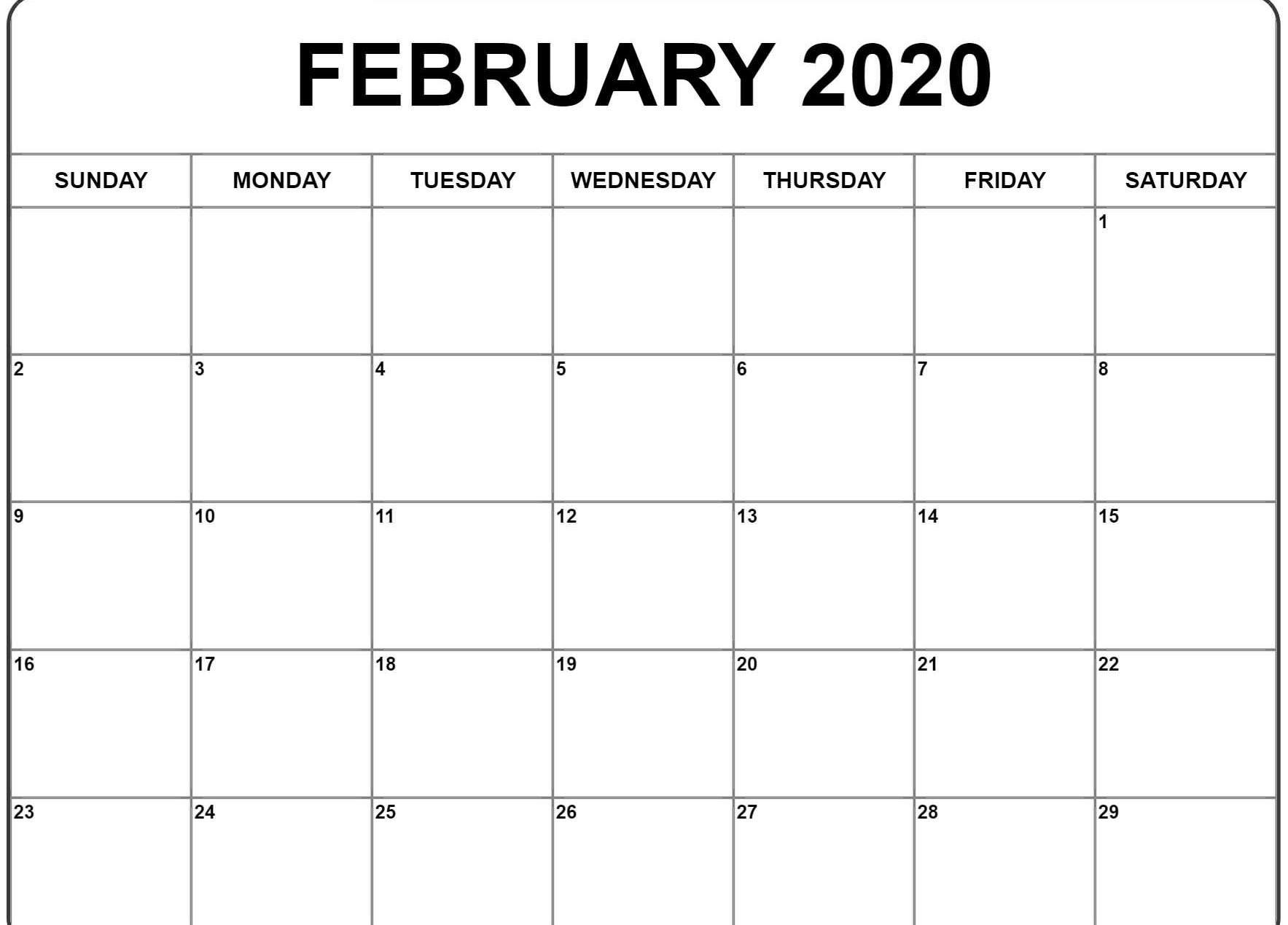 February 2020 Calendar Word | February Calendar, Free 2020 Monthly Calendar Template Word