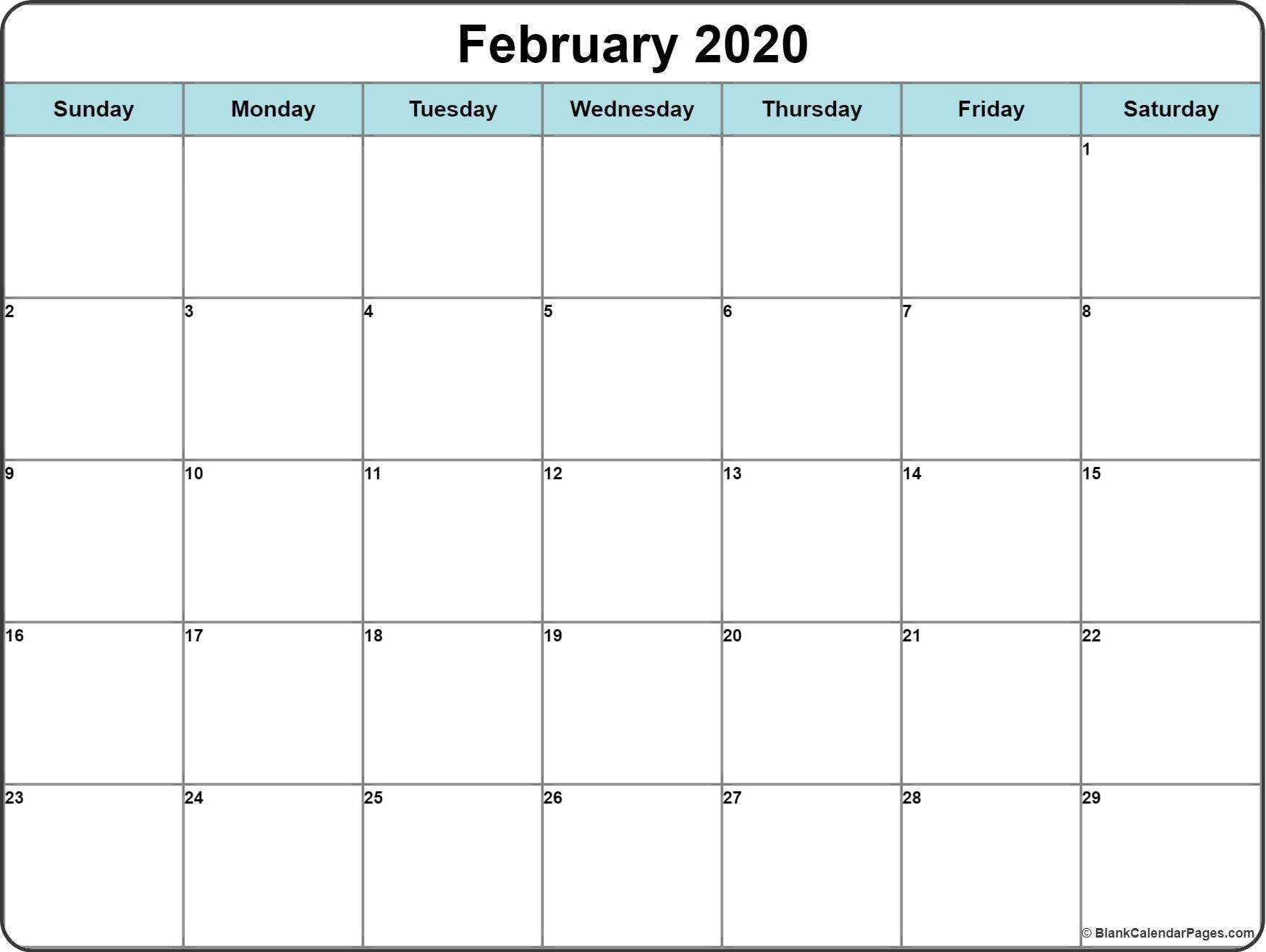 February 2020 Printable Calendar Template #2020Calendars Remarkable 2020 Blank Printable Monthly Template