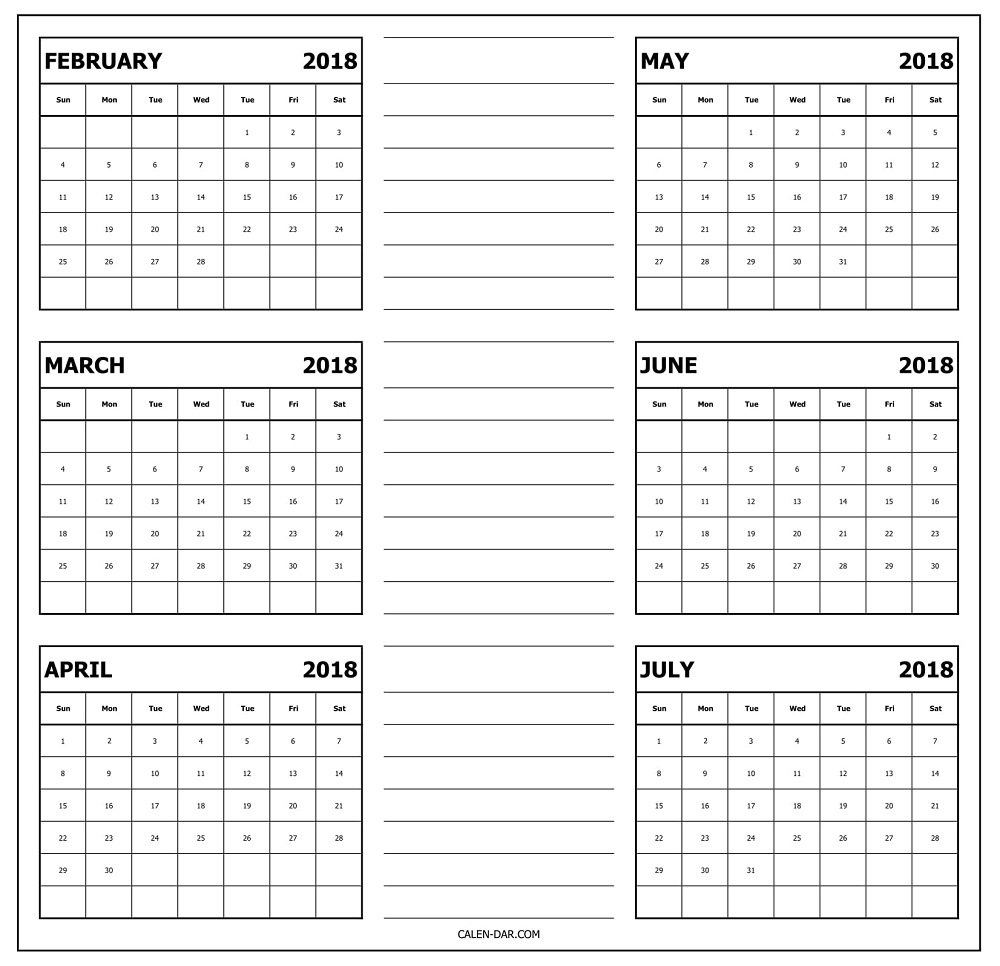 February To July Calendar 2018 Template With Notes   6 Month 6 M Onth Calendar On One Page