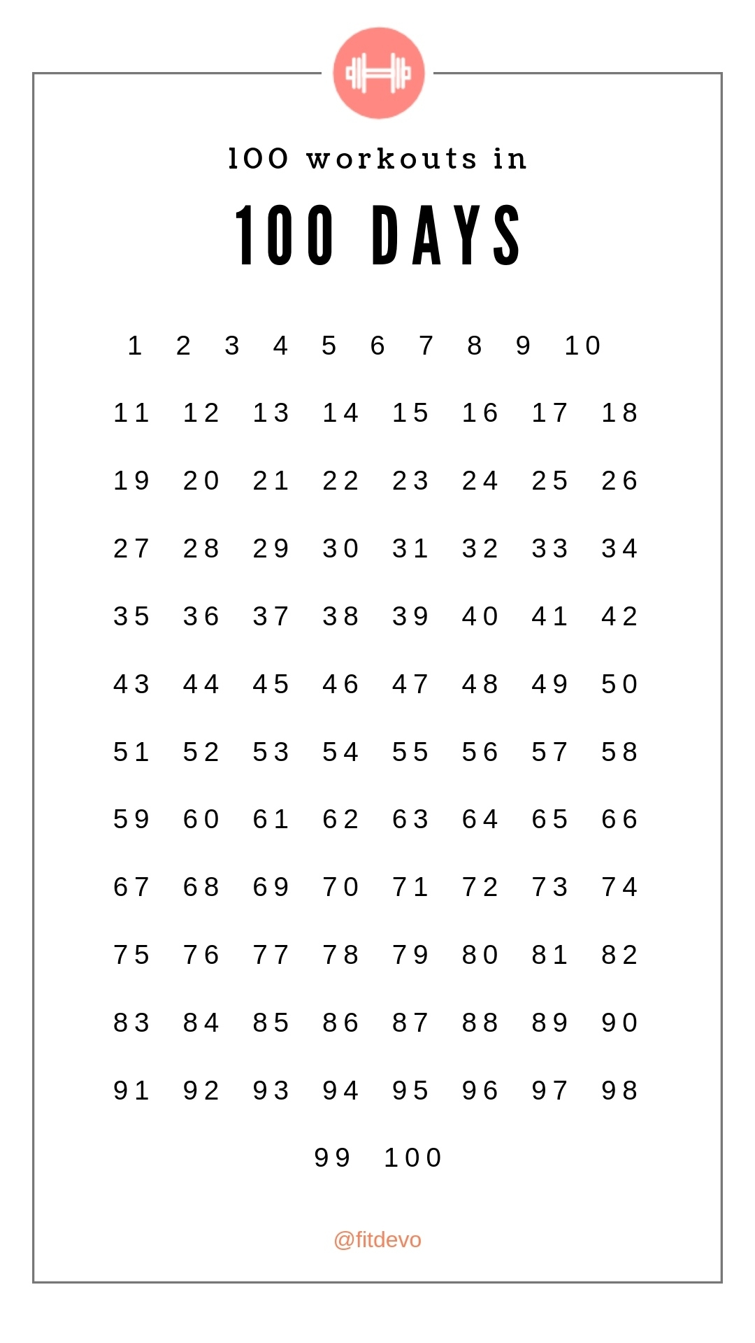 Fit Challenge: 100 Workouts In 100 Days | Fitdevo With 100 Day Countdown Calendar Printable