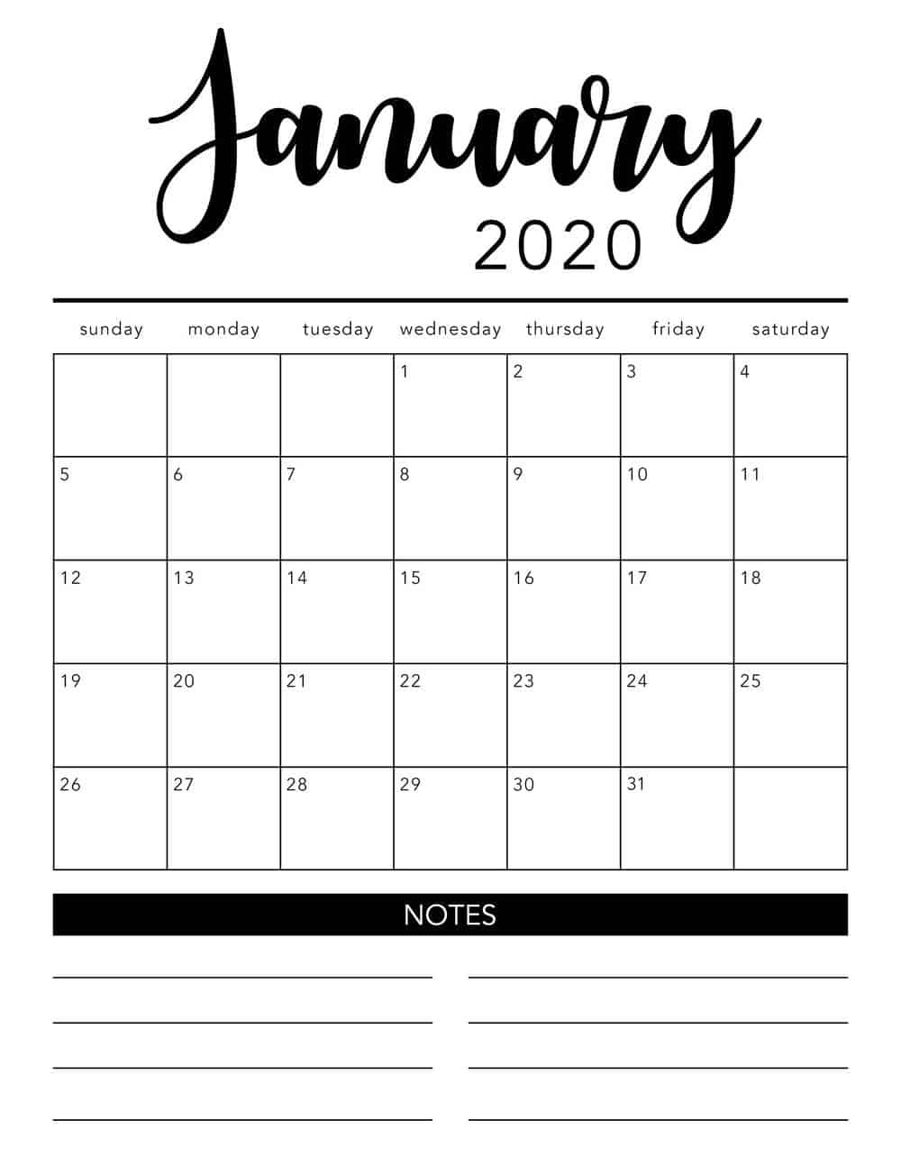 Free 2020 Printable Calendar Template (2 Colors!) - I Heart Extraordinary Calendar Template 2020 Printable Free Black And White