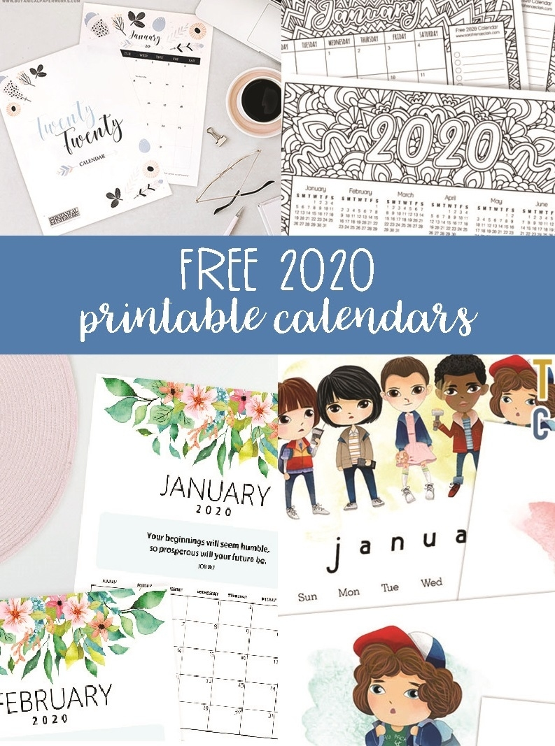 Free 2020 Printable Calendars - Crafting In The Rain Exceptional 8.5 By 14 Printable Calendars
