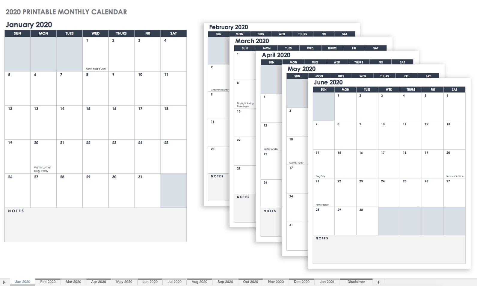 Free Blank Calendar Templates - Smartsheet 5 X 7 Blank Printable Calendar