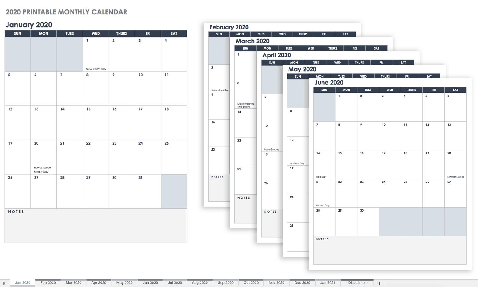 Free Blank Calendar Templates - Smartsheet Free Printable Calendars Without Weekends