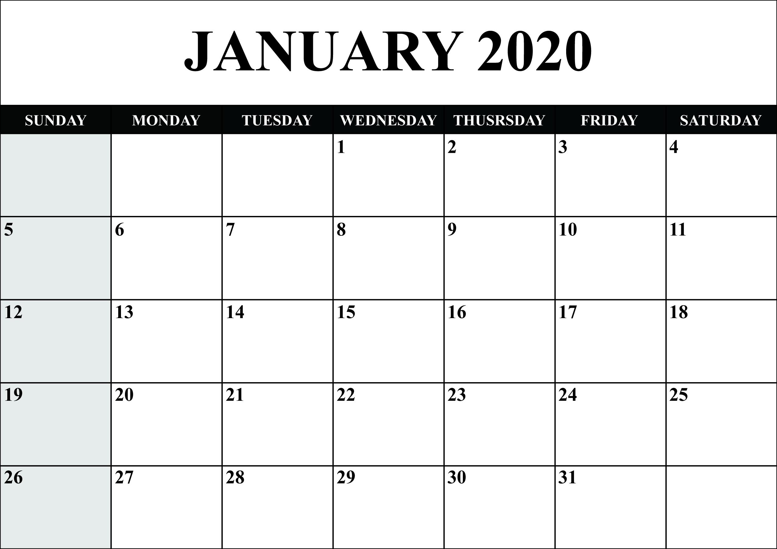 Free Blank January 2020 Calendar Printable In Pdf, Word Perky 2020 Monthly Calendar Template Word