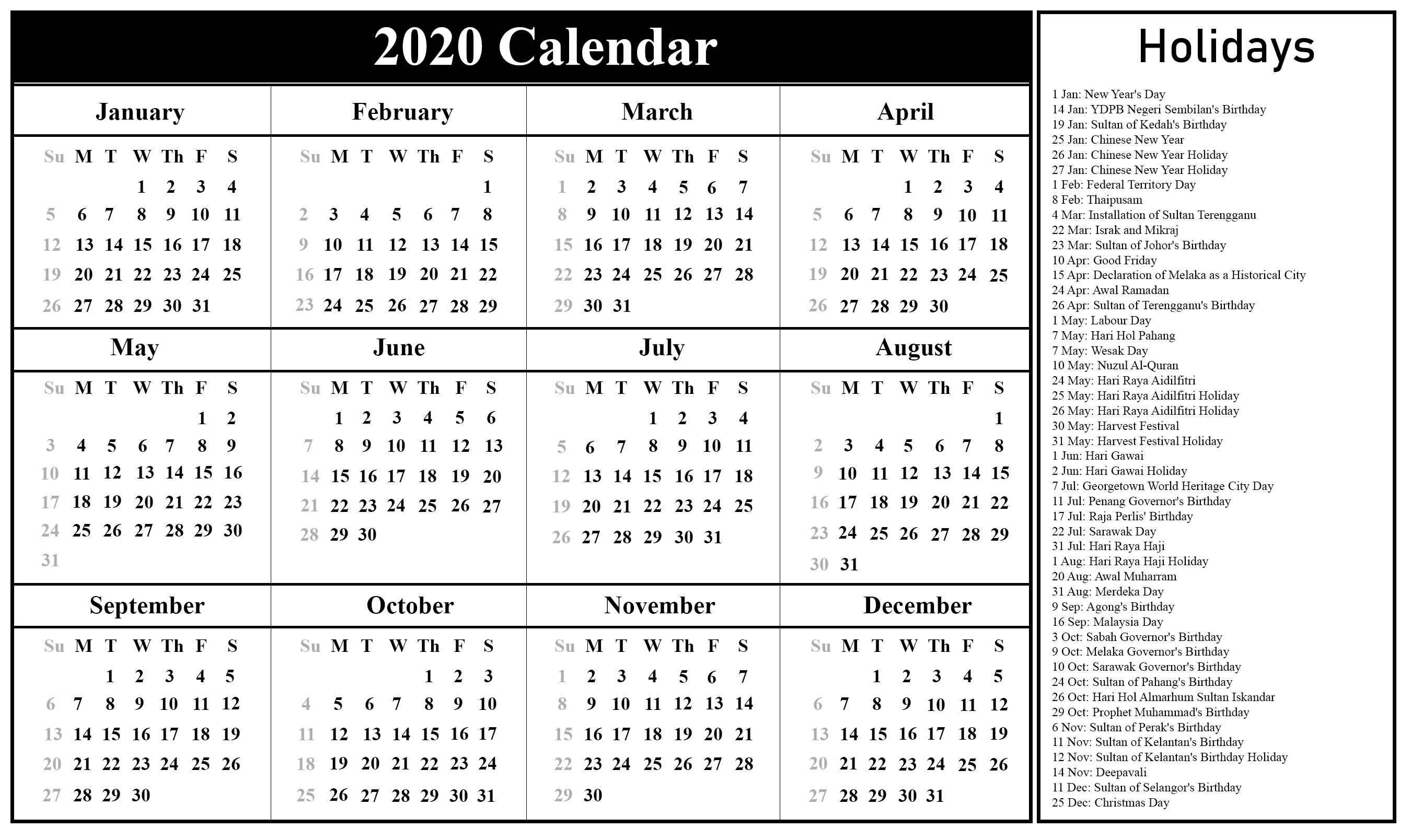 Free Blank Malaysia Calendar 2020 In Pdf, Excel & Word Free Printable Calenders With Legal Holidays