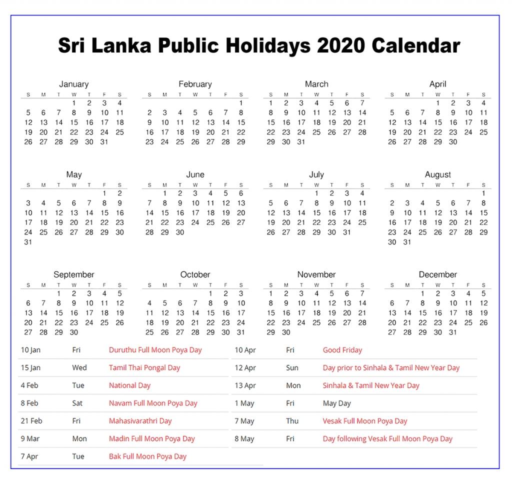 Free Blank & Printable Sri Lanka Public Holidays 2020 2020 Calendar Holidays Sri Lanka