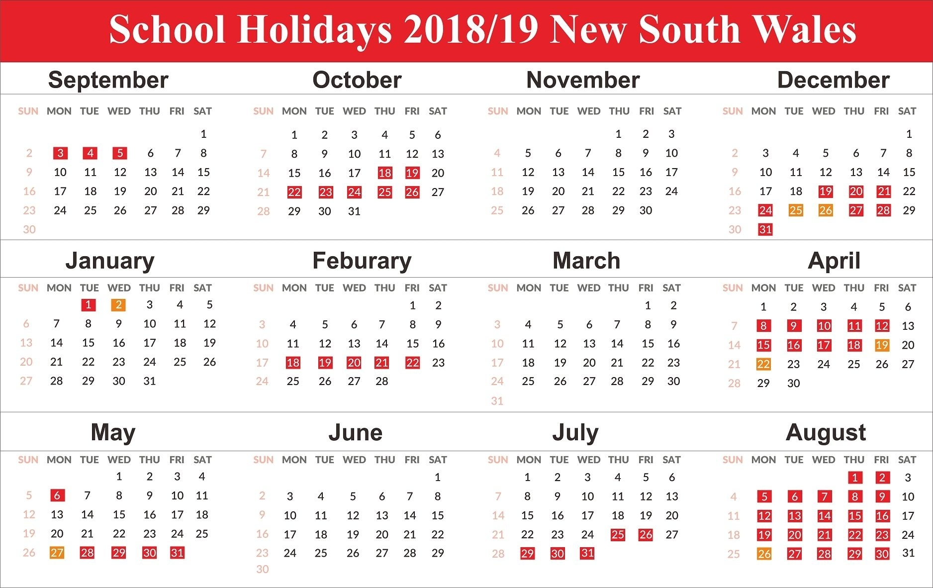 Free Editable School Holidays 2019 Nsw {New South Wales Remarkable Nsw Calendar 2020 Free Printable