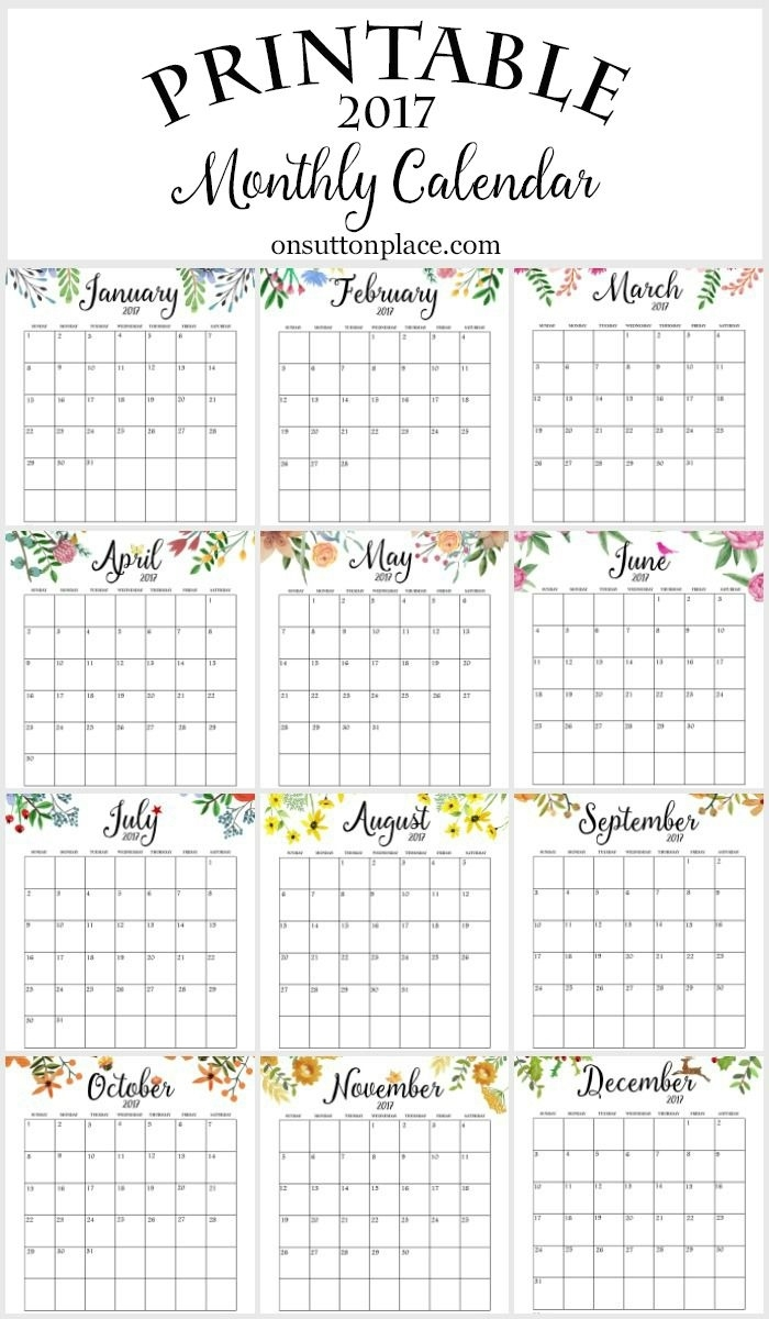 Free Floral 2020 Printable Calendar | Free Printable Exceptional Free Month At Glance Calendar