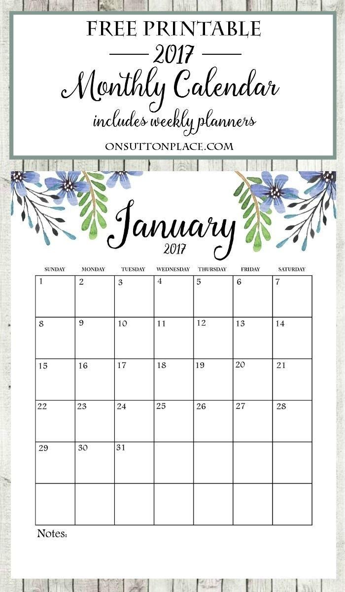 Free Floral 2020 Printable Calendar | Free Printable Free Month At Glance Calendar