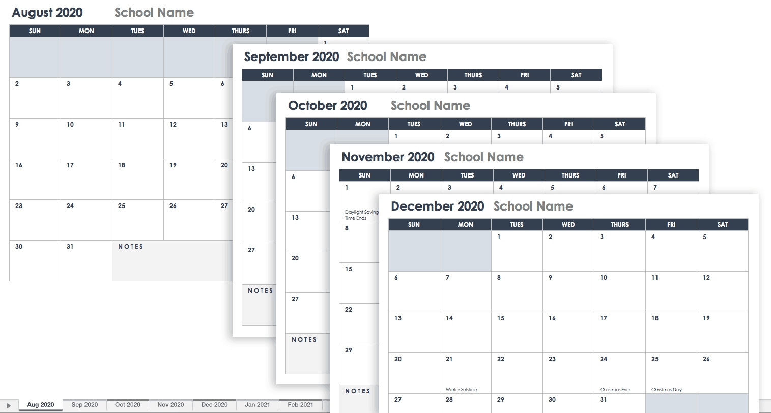 Free Google Calendar Templates | Smartsheet 2020 Calendar Google Sheets